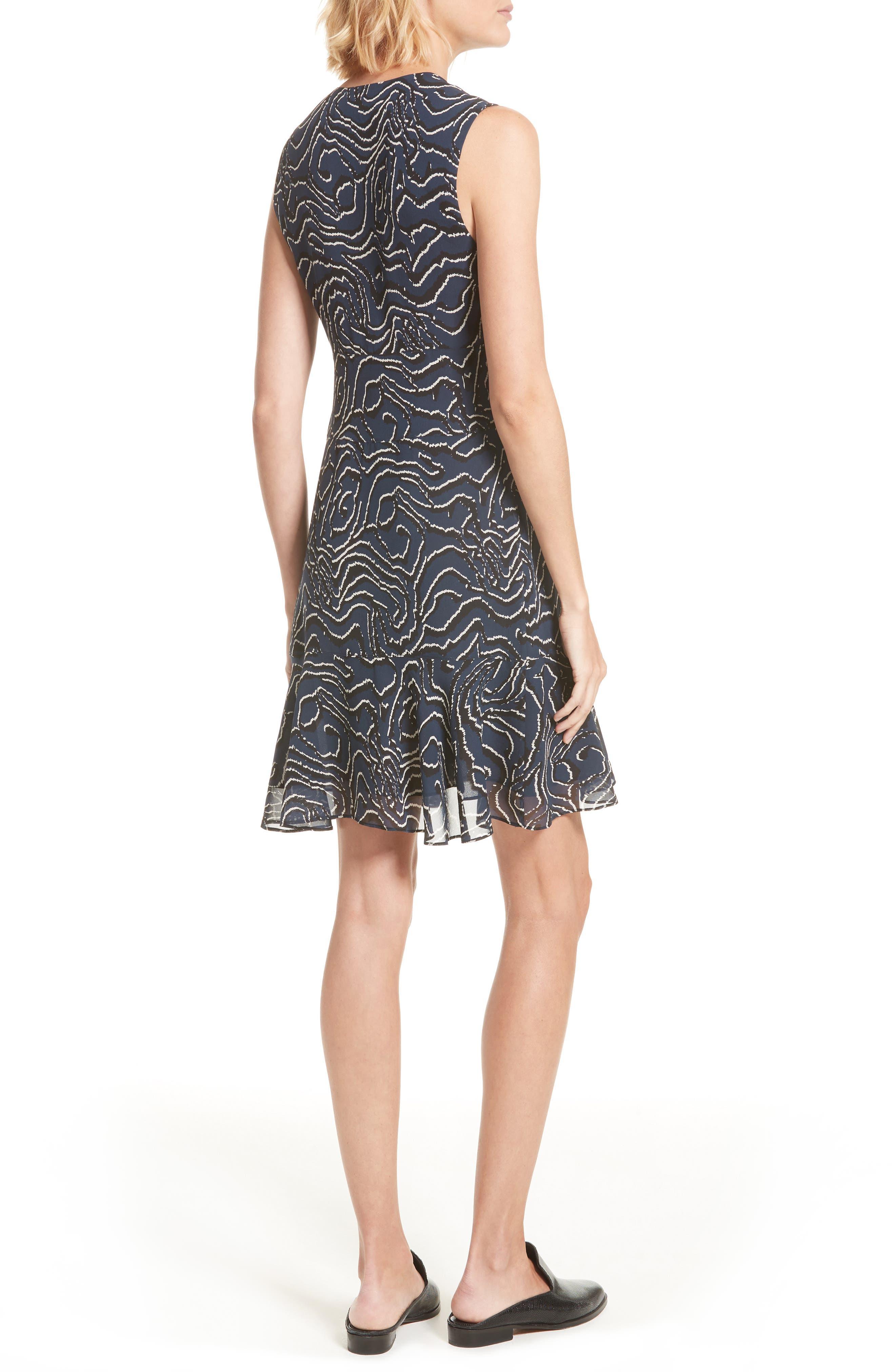Ruffle Print Silk Dress,                             Alternate thumbnail 2, color,                             Midnight