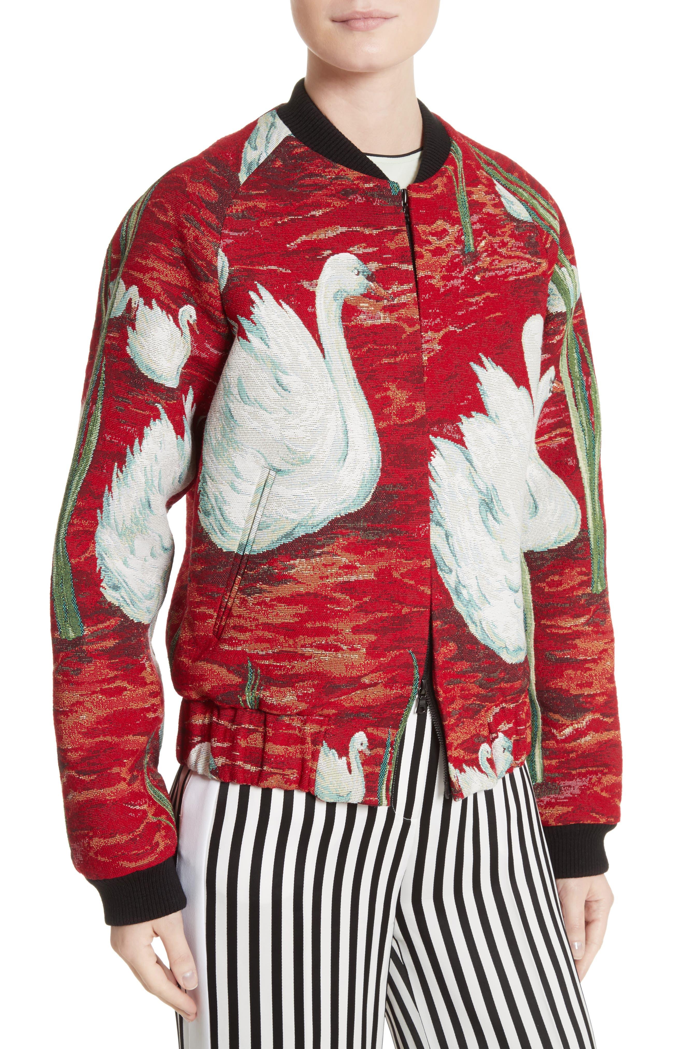 Swan Print Raglan Bomber,                             Alternate thumbnail 5, color,                             Swan Scene