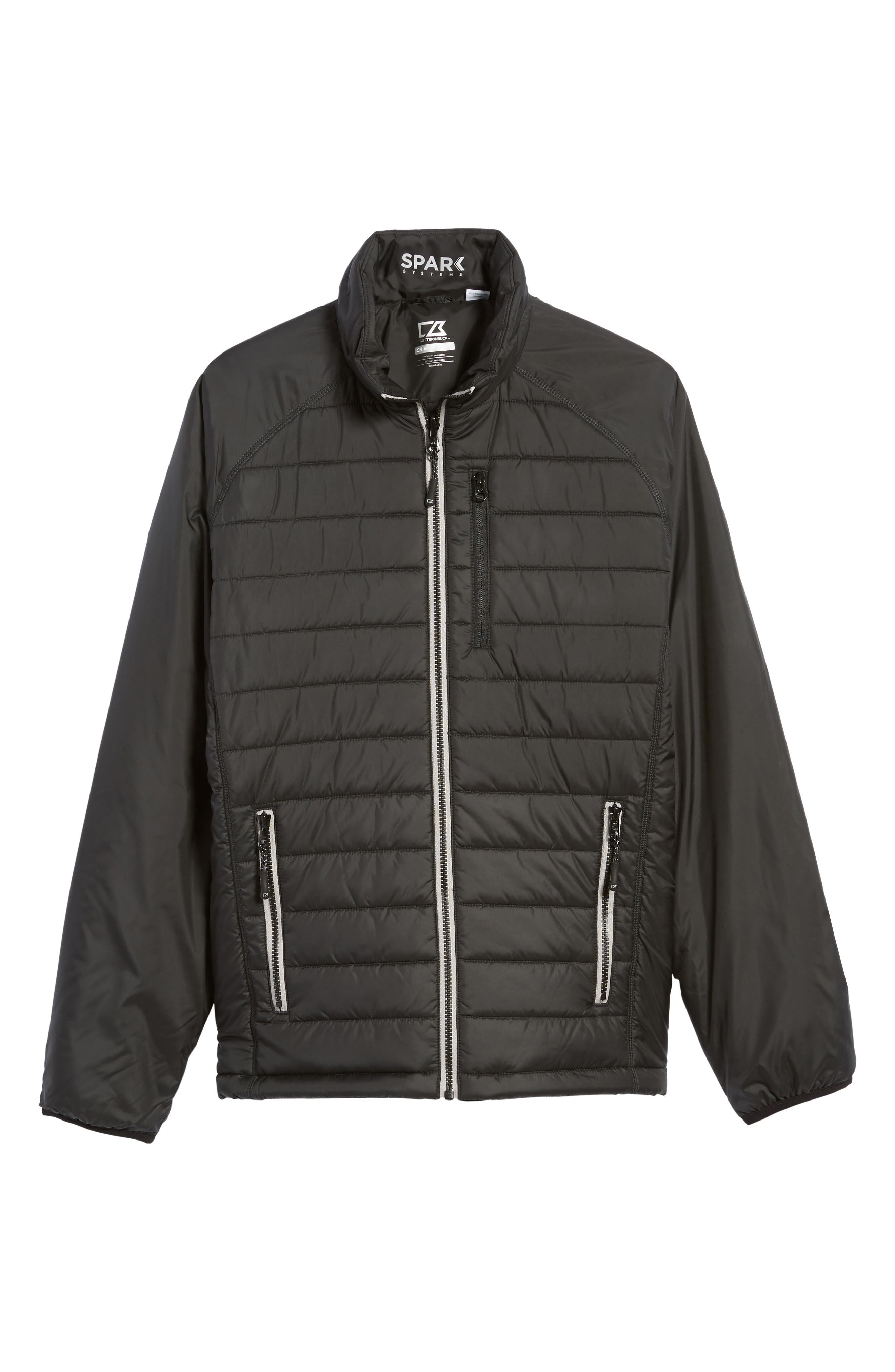 Barlow Pass Quilted Jacket,                             Alternate thumbnail 6, color,                             Black