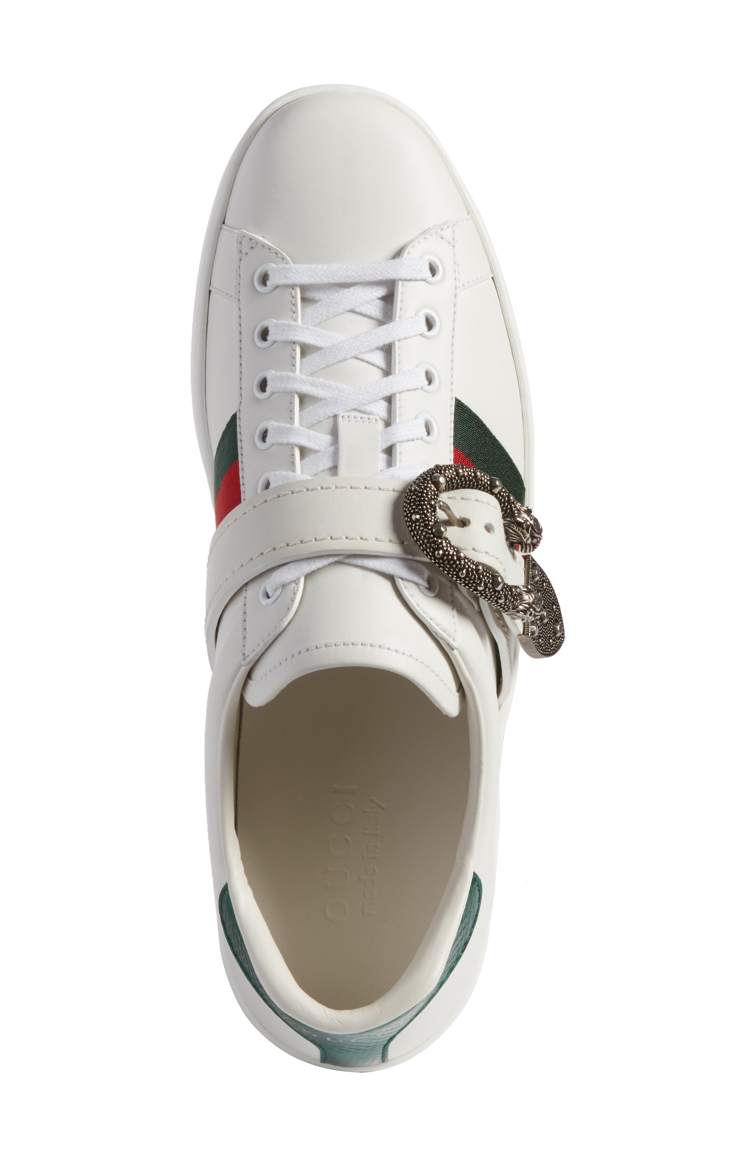 New Ace Dionysus Buckle Low Top Sneaker,                             Alternate thumbnail 5, color,                             White With Silver Hardware