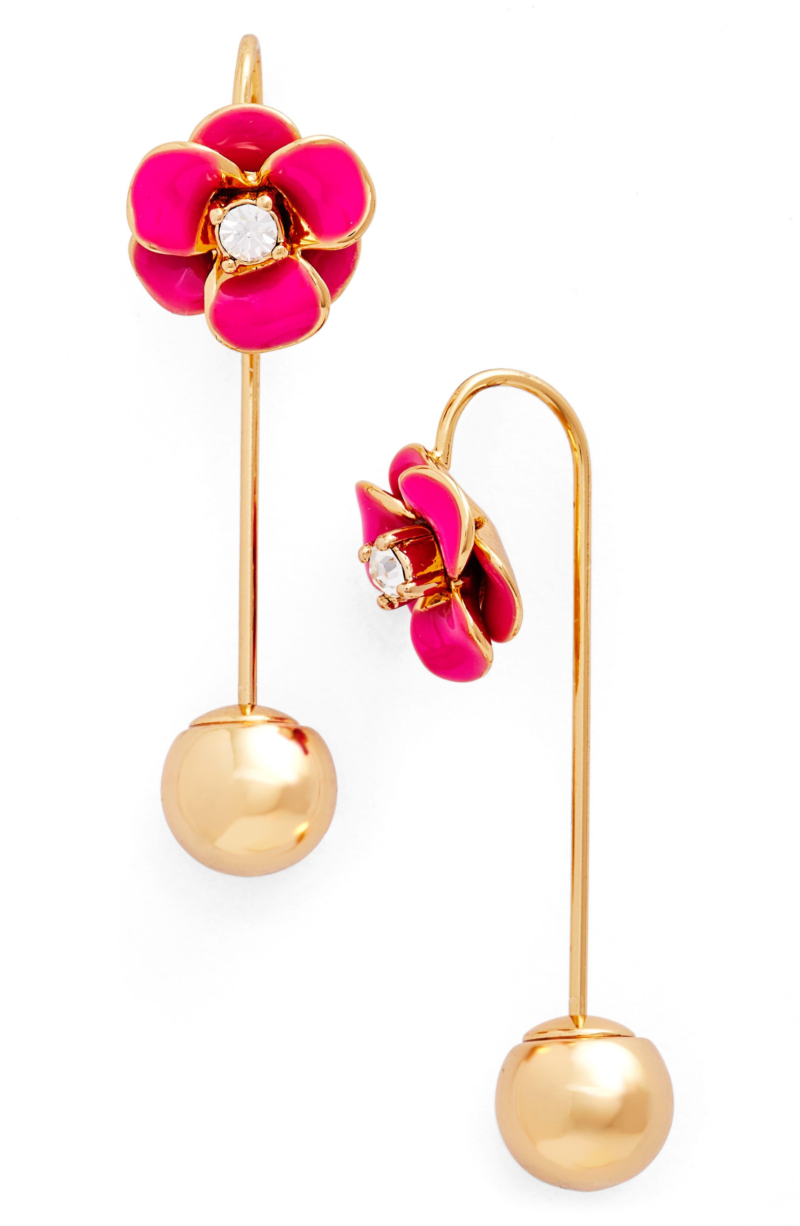 Alternate Image 1 Selected - kate spade flower hanger drop earrings