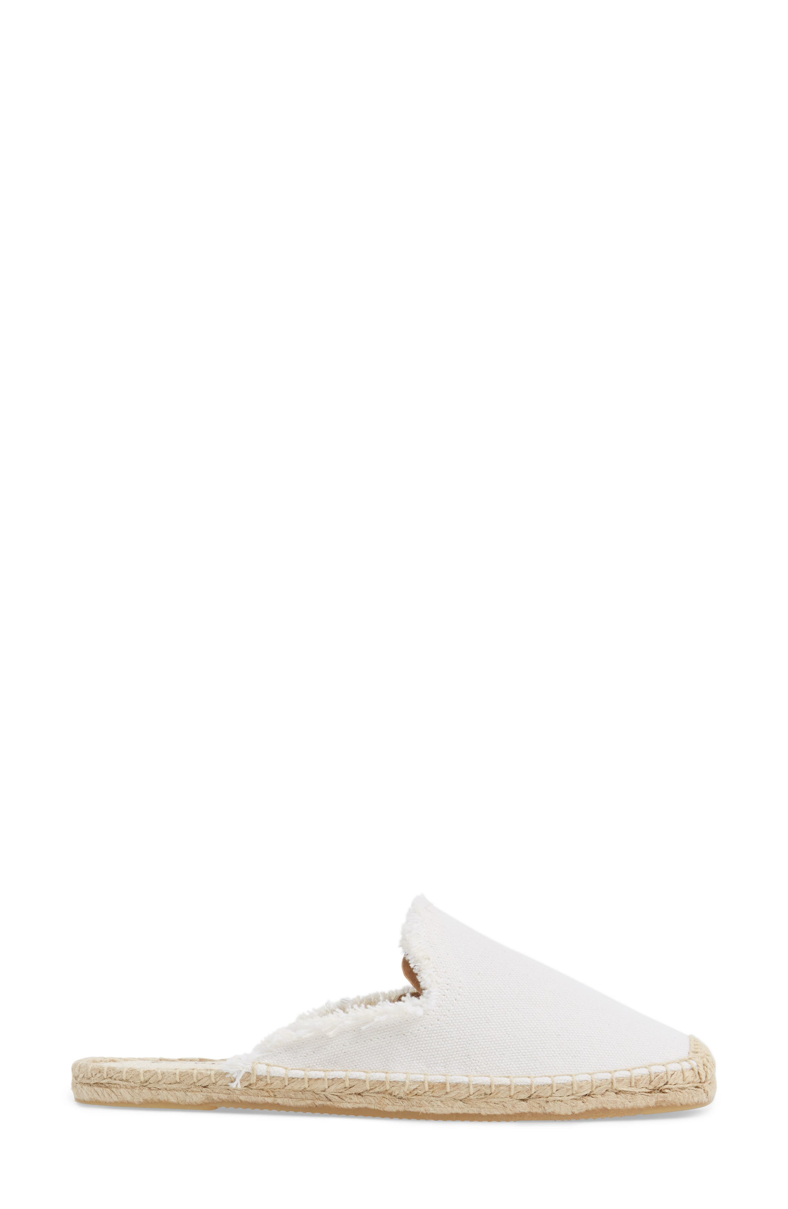Frayed Loafer Mule,                             Alternate thumbnail 3, color,                             White Canvas