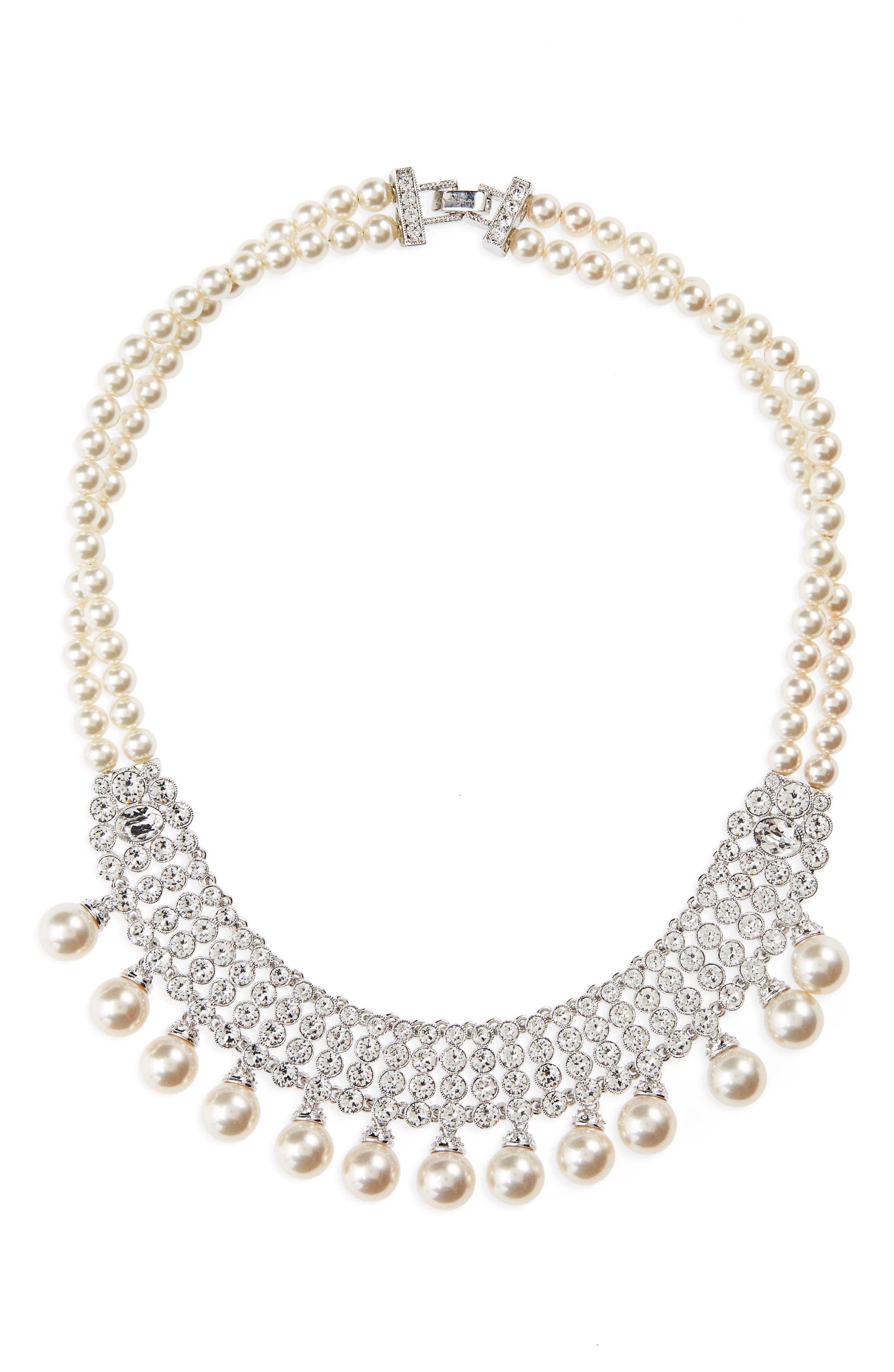 Glam Imitation Pearl Fringe Necklace,                             Main thumbnail 1, color,                             Ivory Pearl / Silver