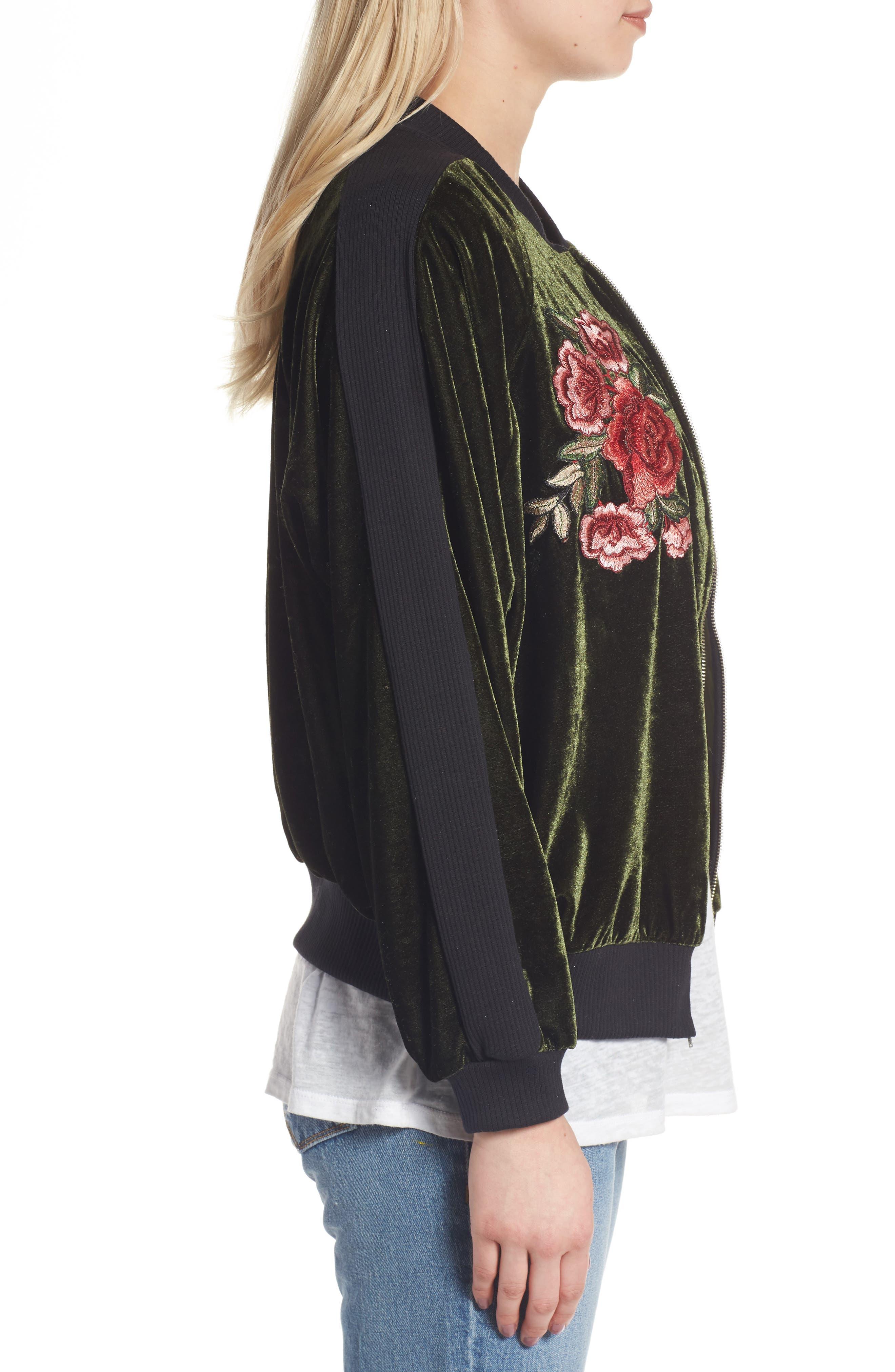 Alternate Image 3  - BP. Floral Embroidered Bomber