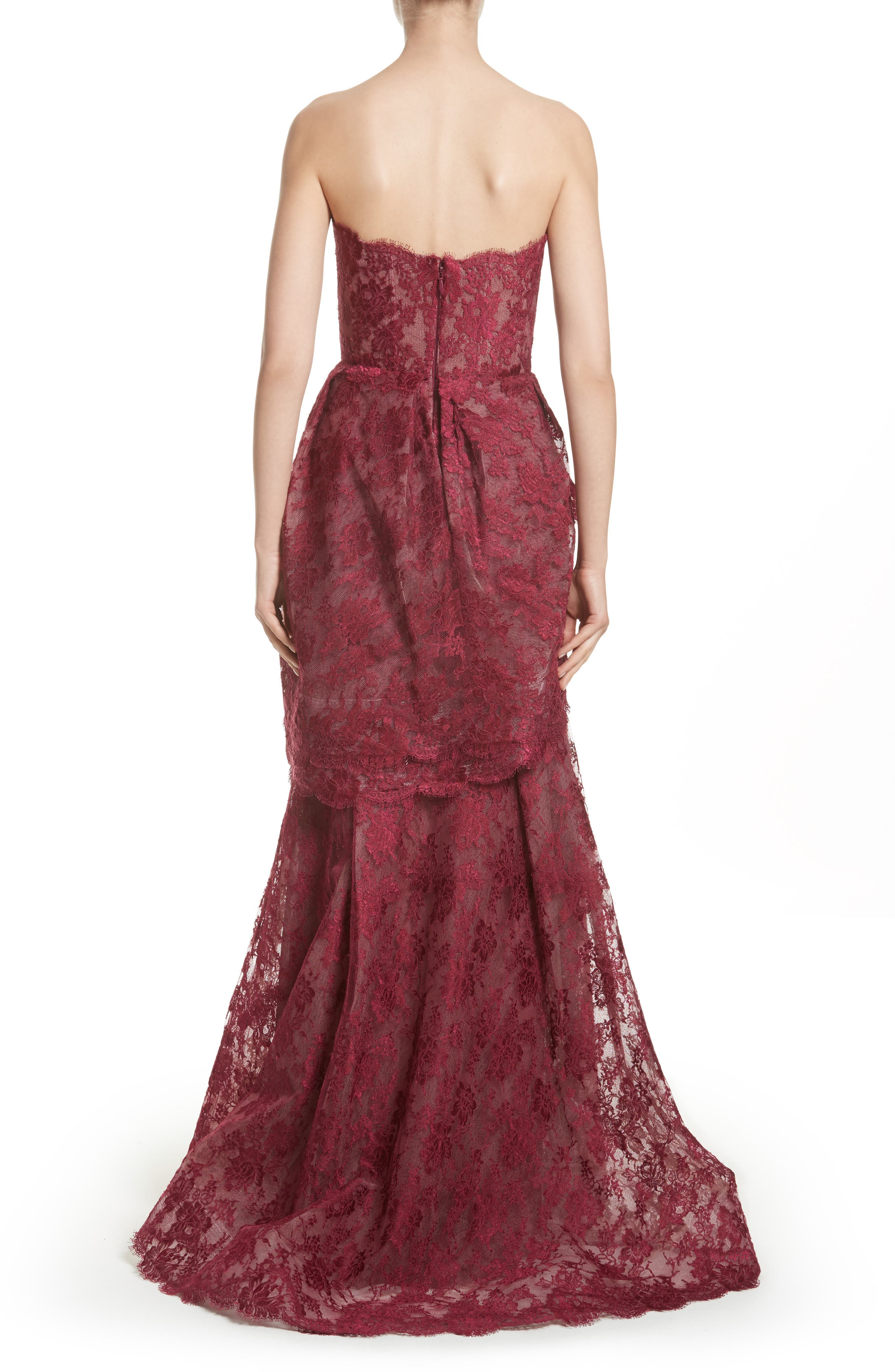 Tiered Strapless Lace Gown,                             Alternate thumbnail 2, color,                             Cherry