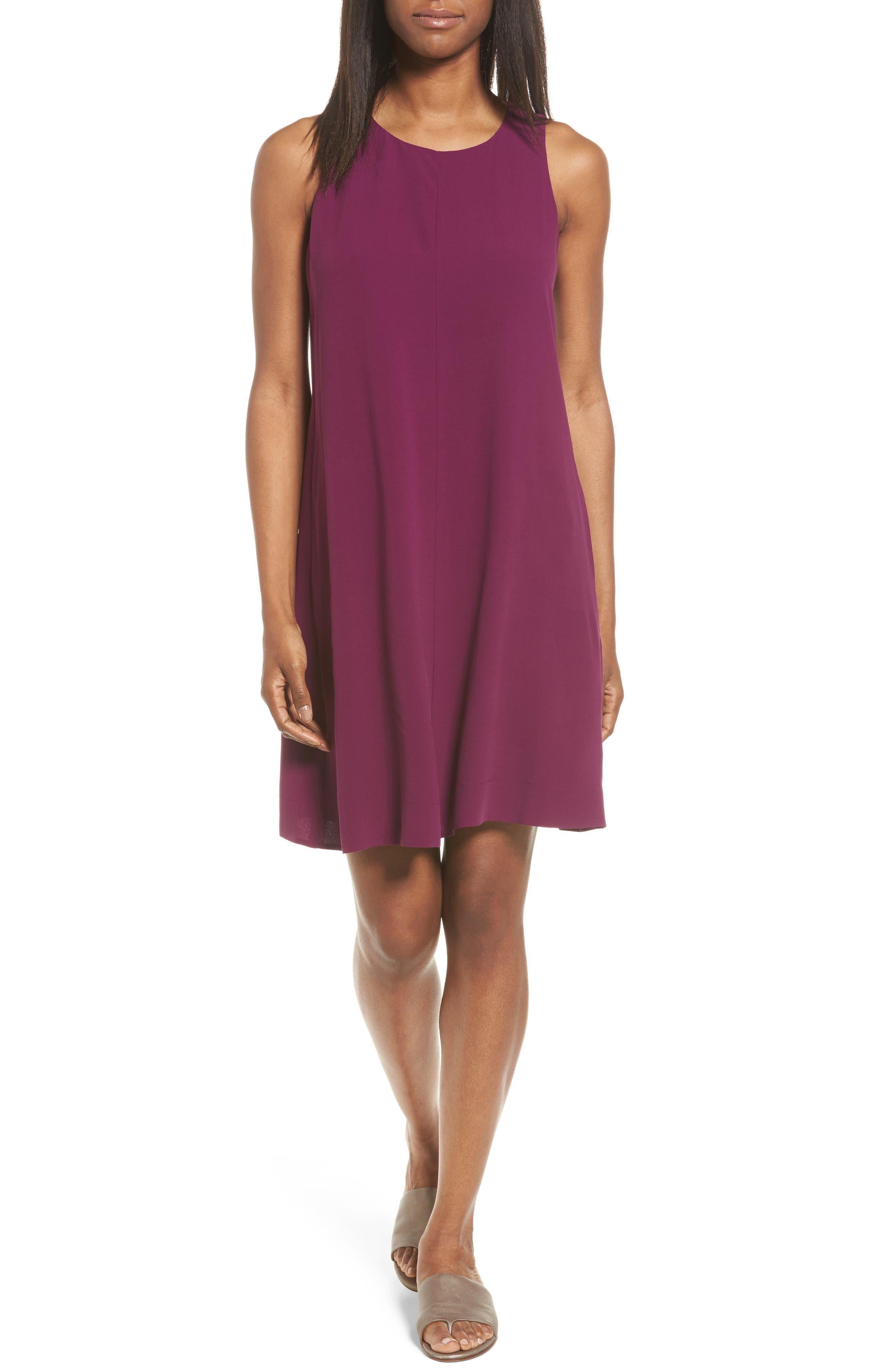 Silk A-Line Dress,                             Main thumbnail 1, color,                             Boysenberry