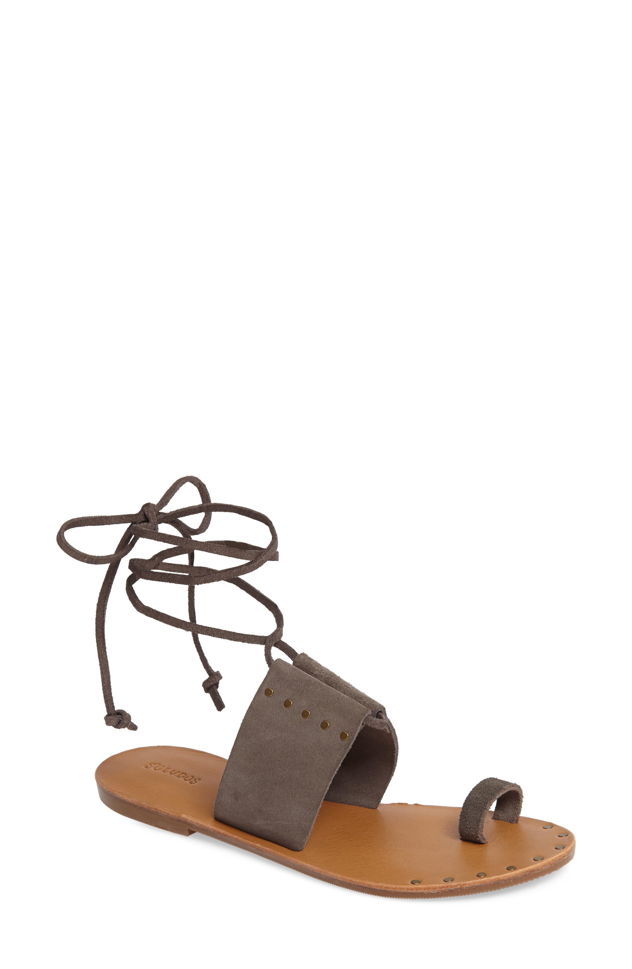 Milos Ankle Wrap Sandal,                         Main,                         color, Dove Gray Leather