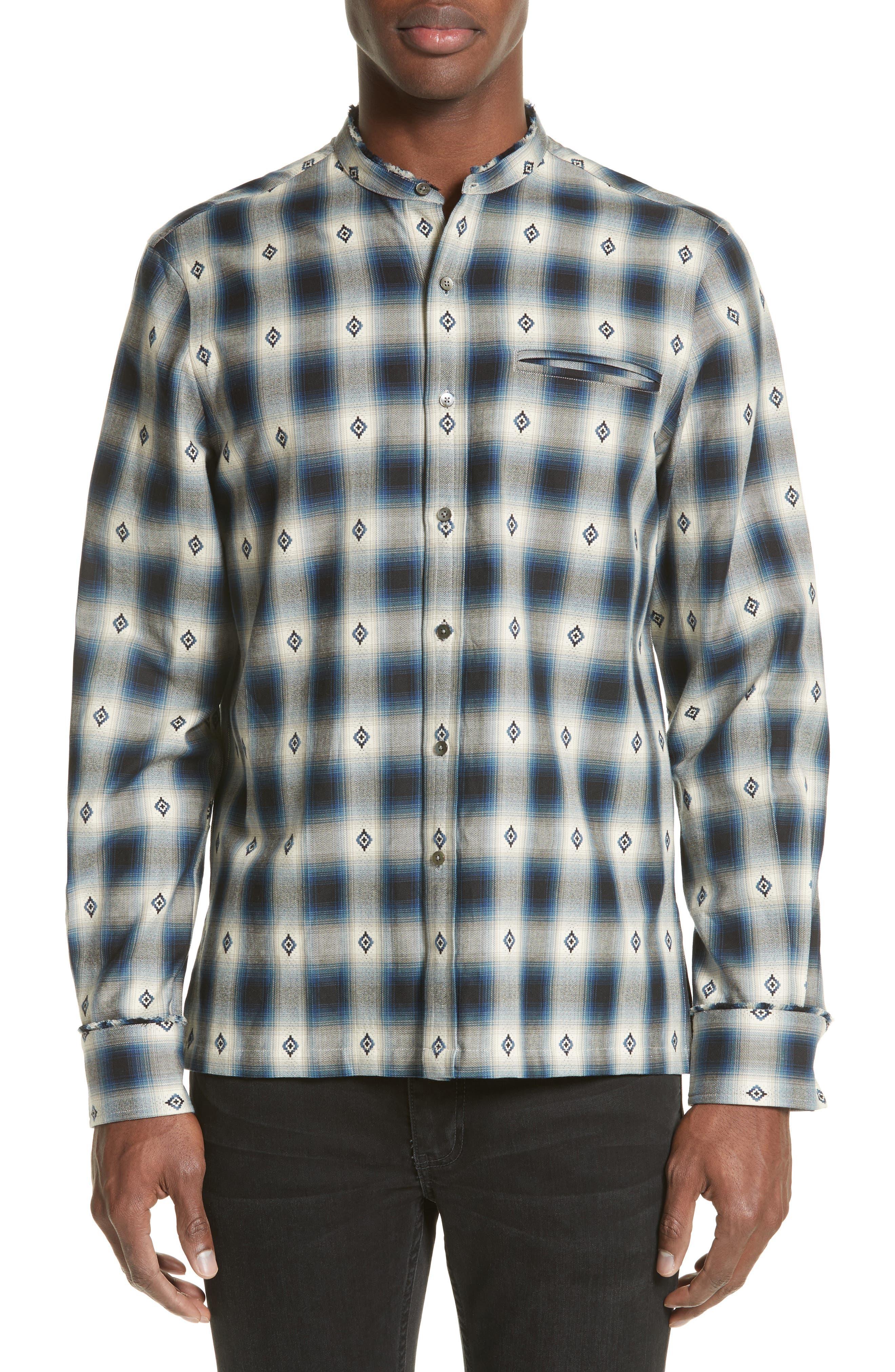 Crosby Raw Edge Print Woven Shirt,                         Main,                         color, Blue Plaid