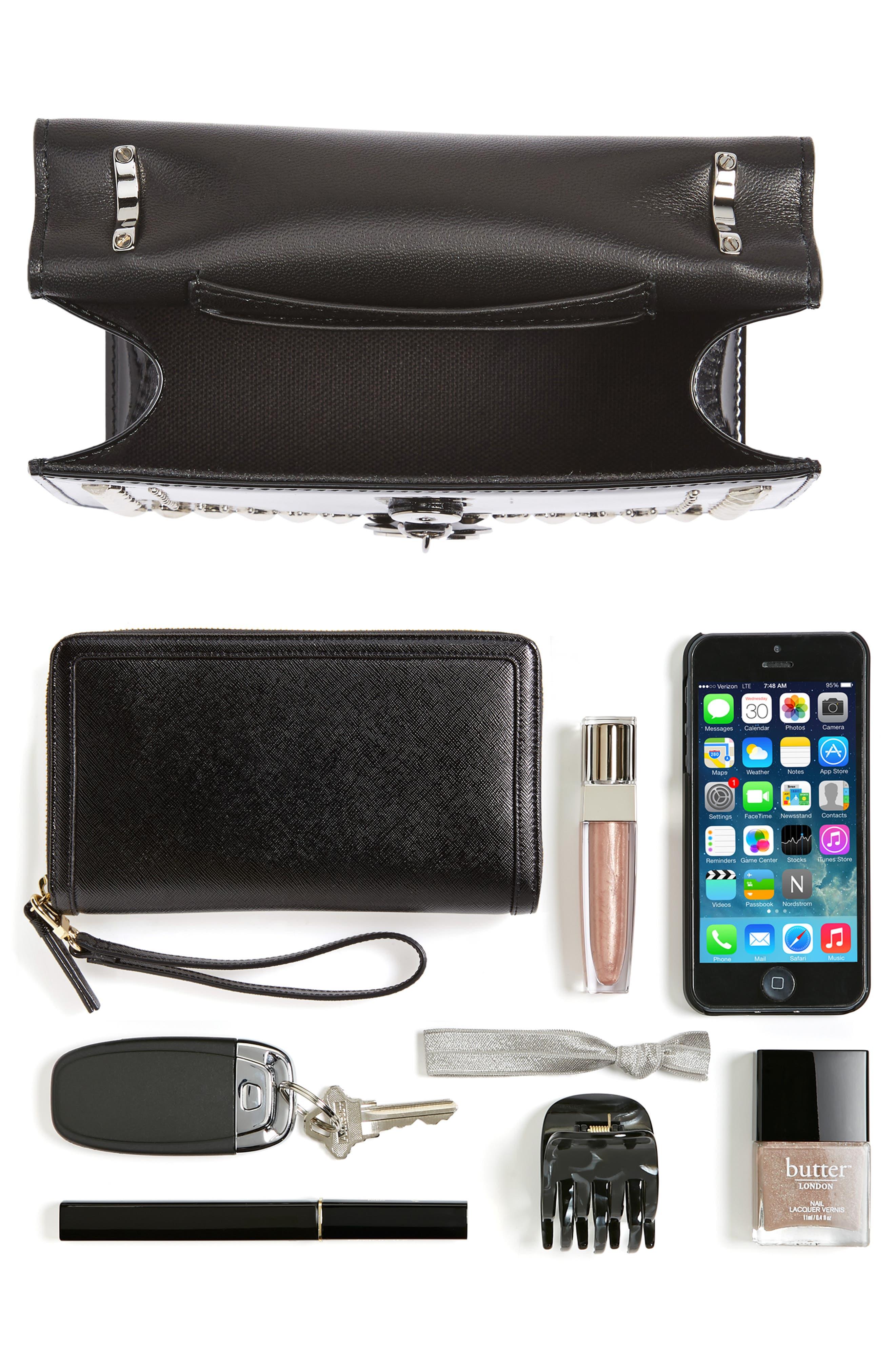 Finley Studded Leather Shoulder Bag,                             Alternate thumbnail 7, color,                             Black