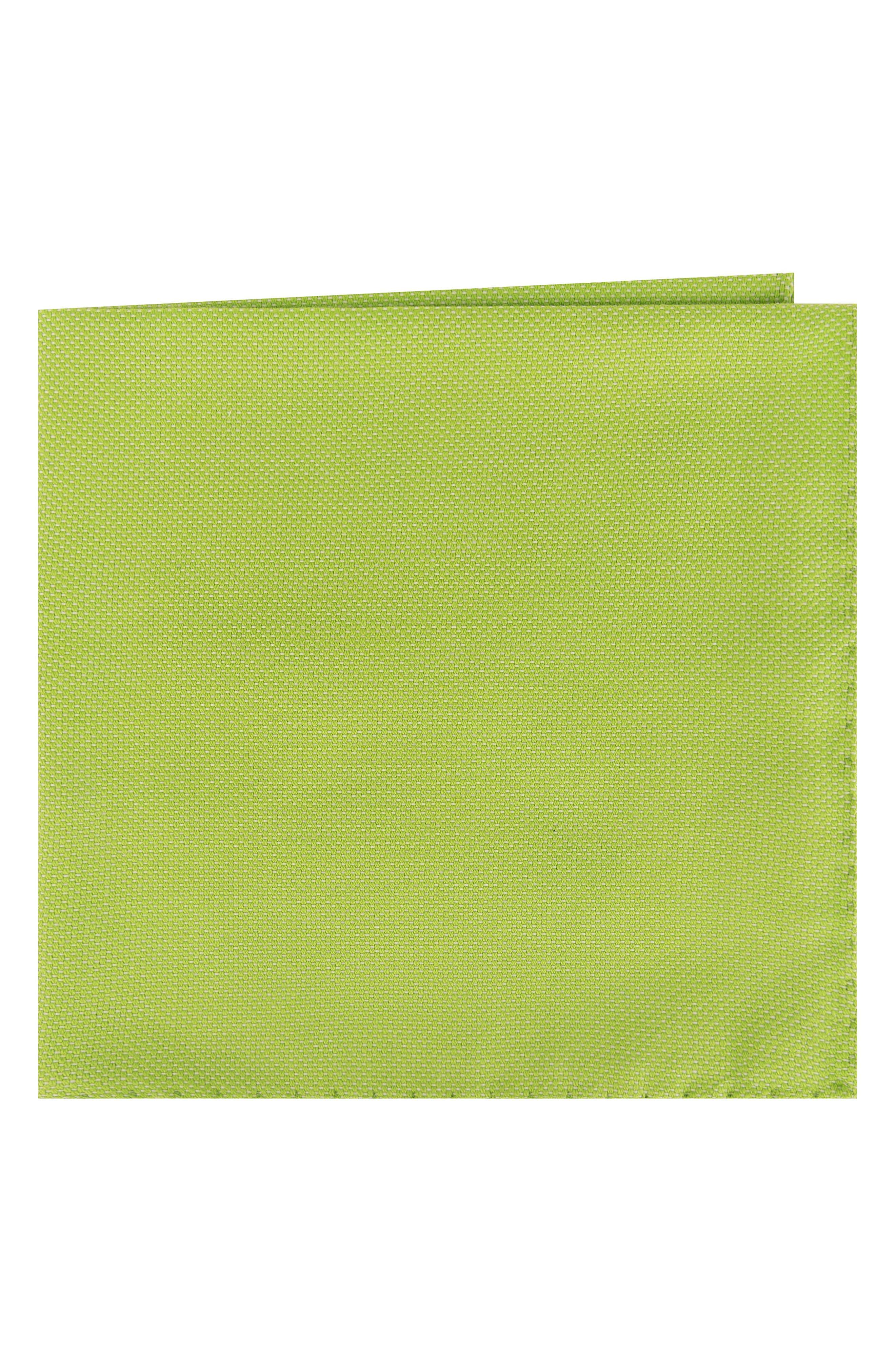 Solid Cotton Pocket Square,                         Main,                         color, Lime