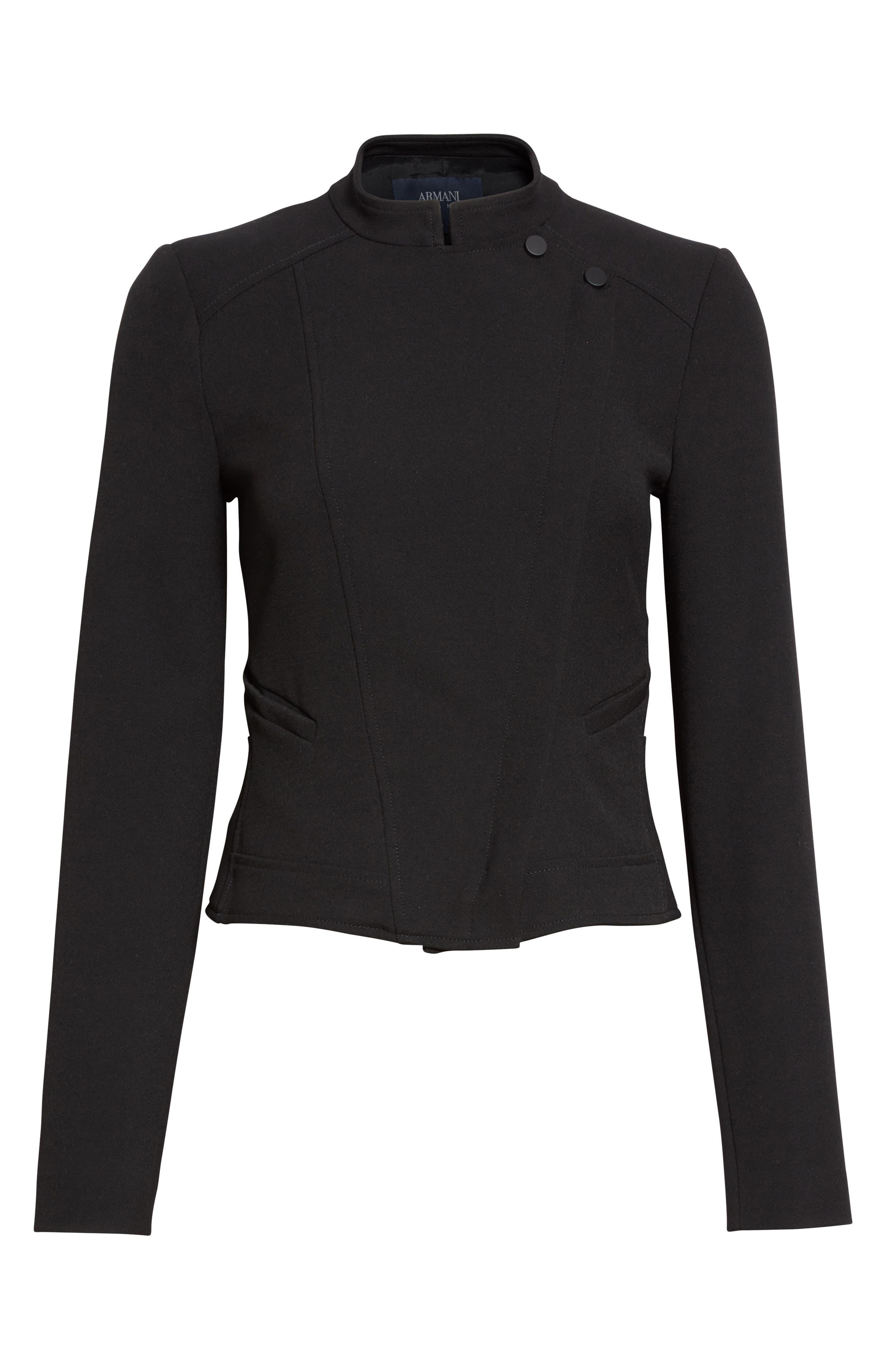 Armani Jeans Crepe Moto Jacket,                             Alternate thumbnail 4, color,                             Black