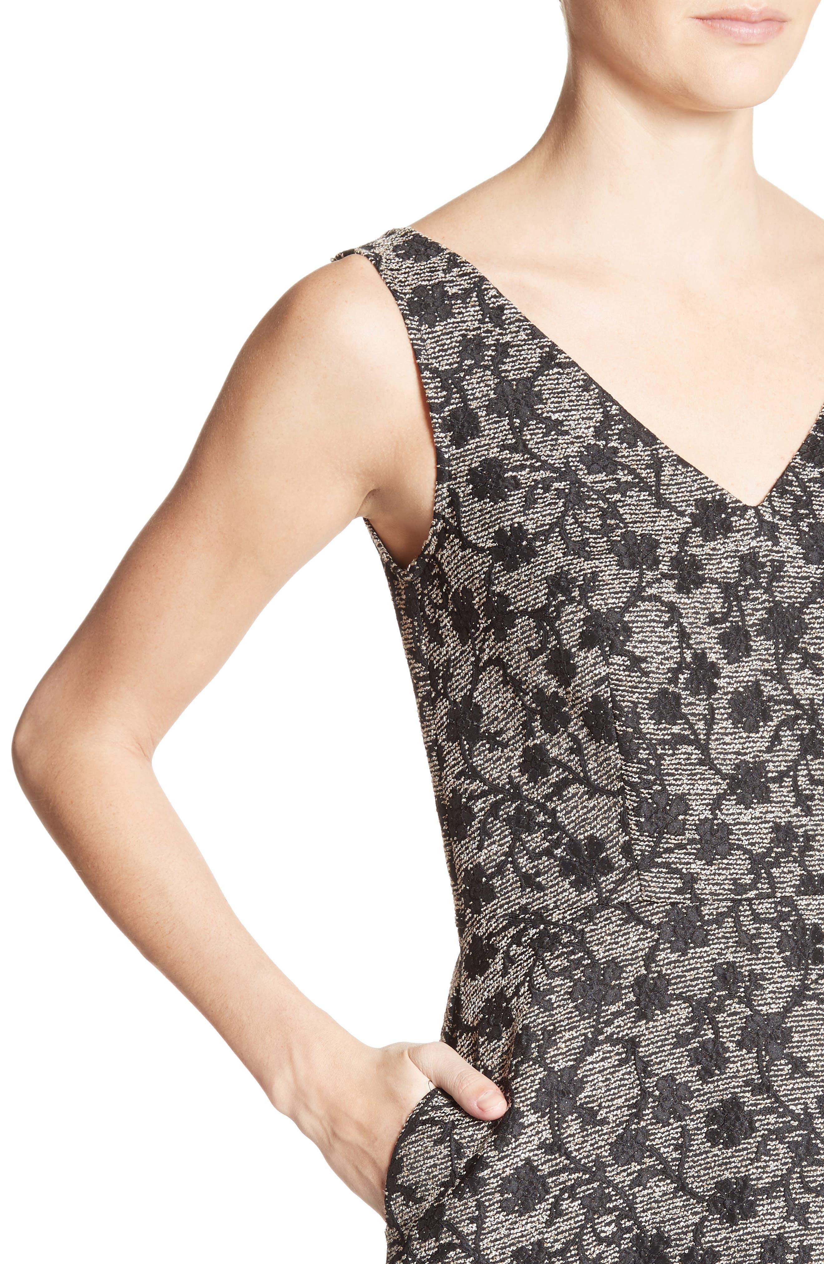 Floral Jacquard Midi Dress,                             Alternate thumbnail 6, color,                             Black/ Gold