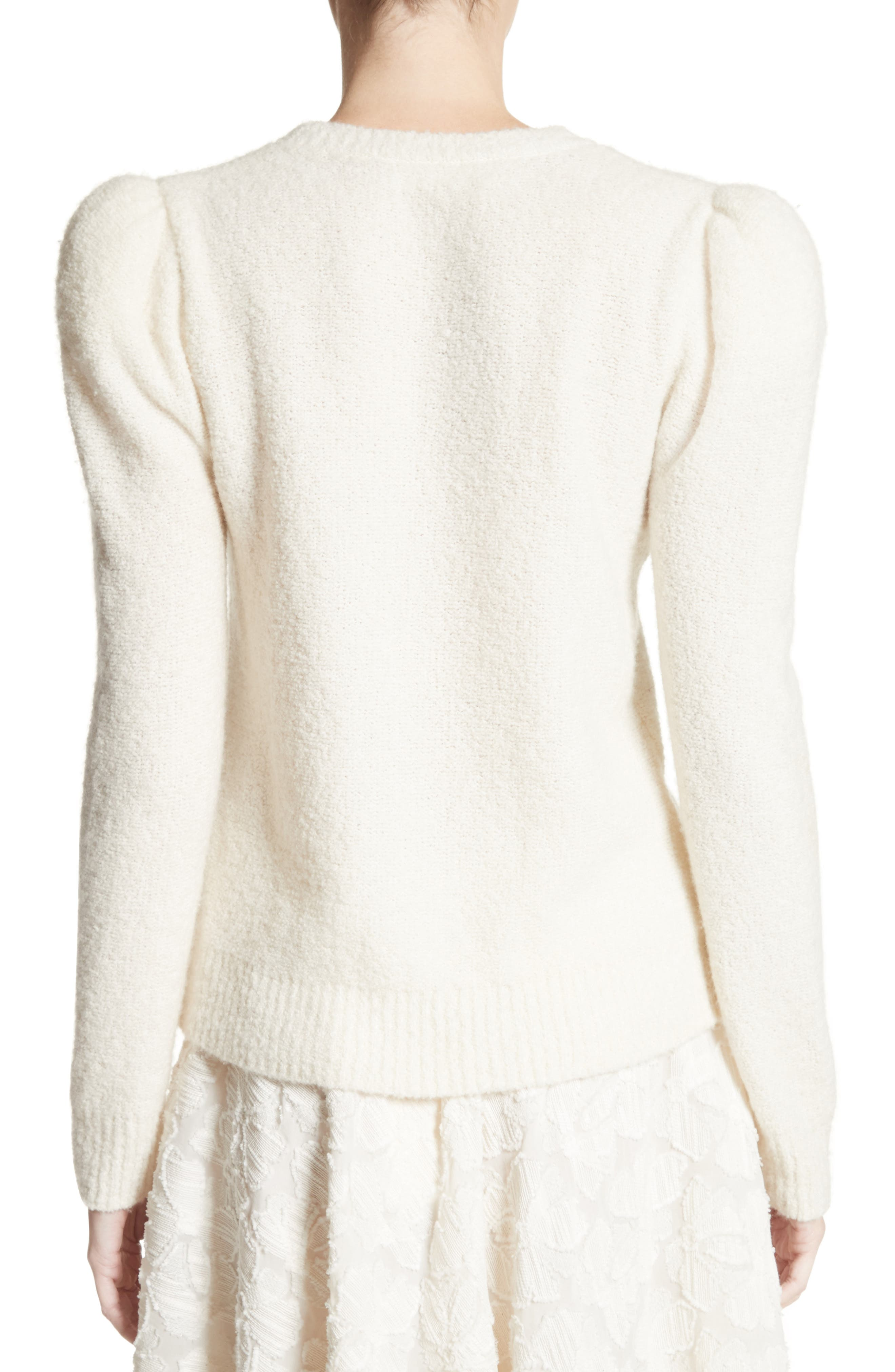 Puff Sleeve Cashmere Blend Sweater,                             Alternate thumbnail 2, color,                             Ivory