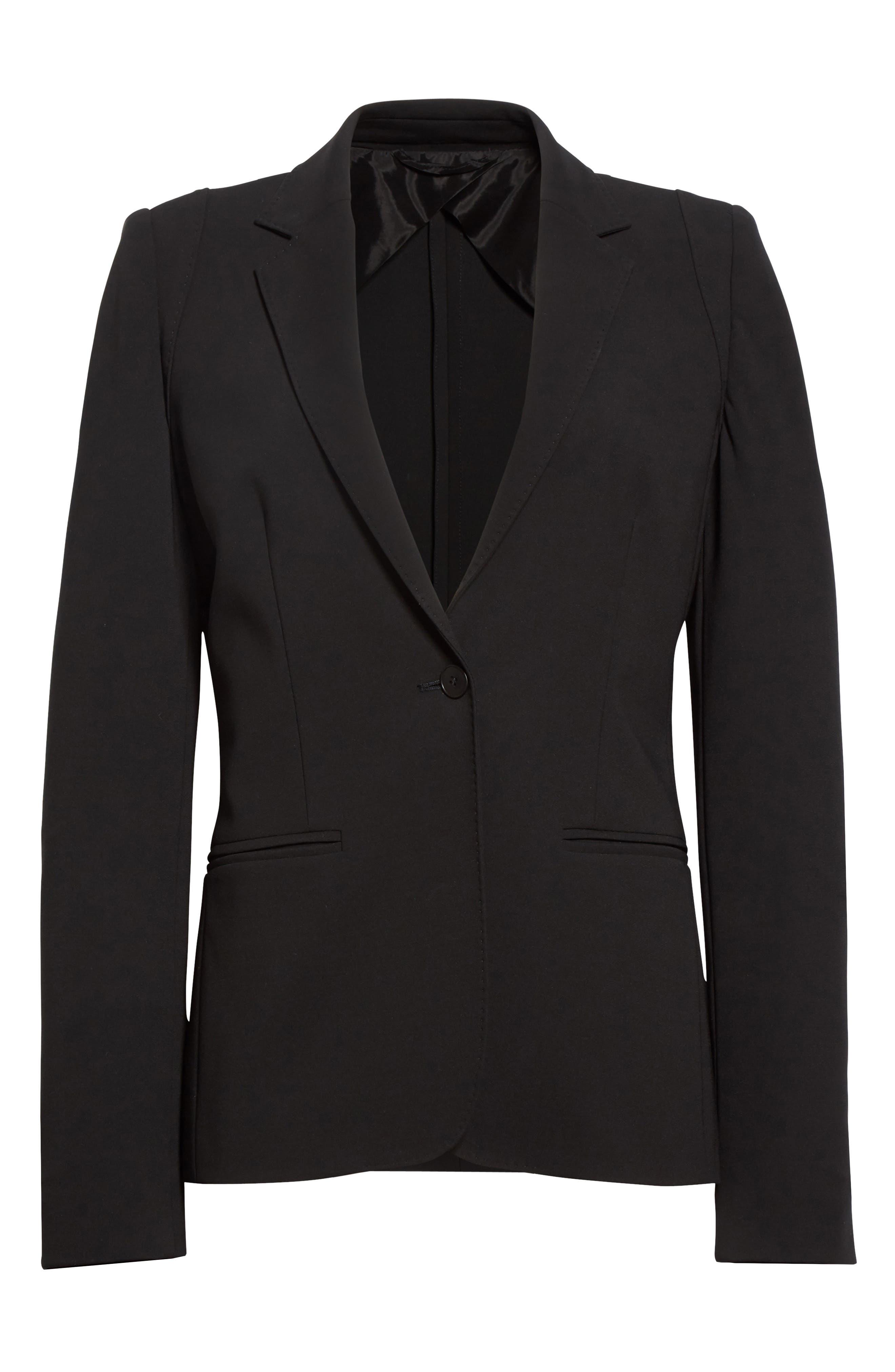 Bari Stretch Jersey Jacket,                             Alternate thumbnail 4, color,                             Black
