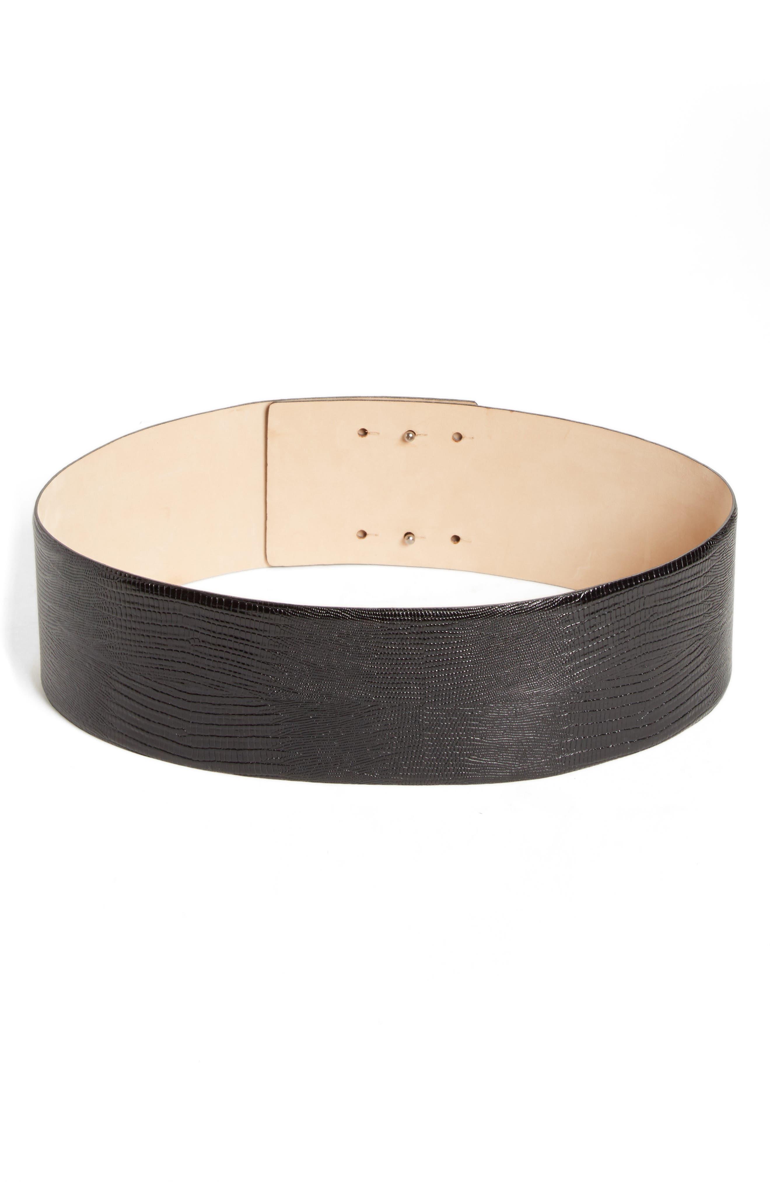 Max Mara Reptile Embossed Leather Belt