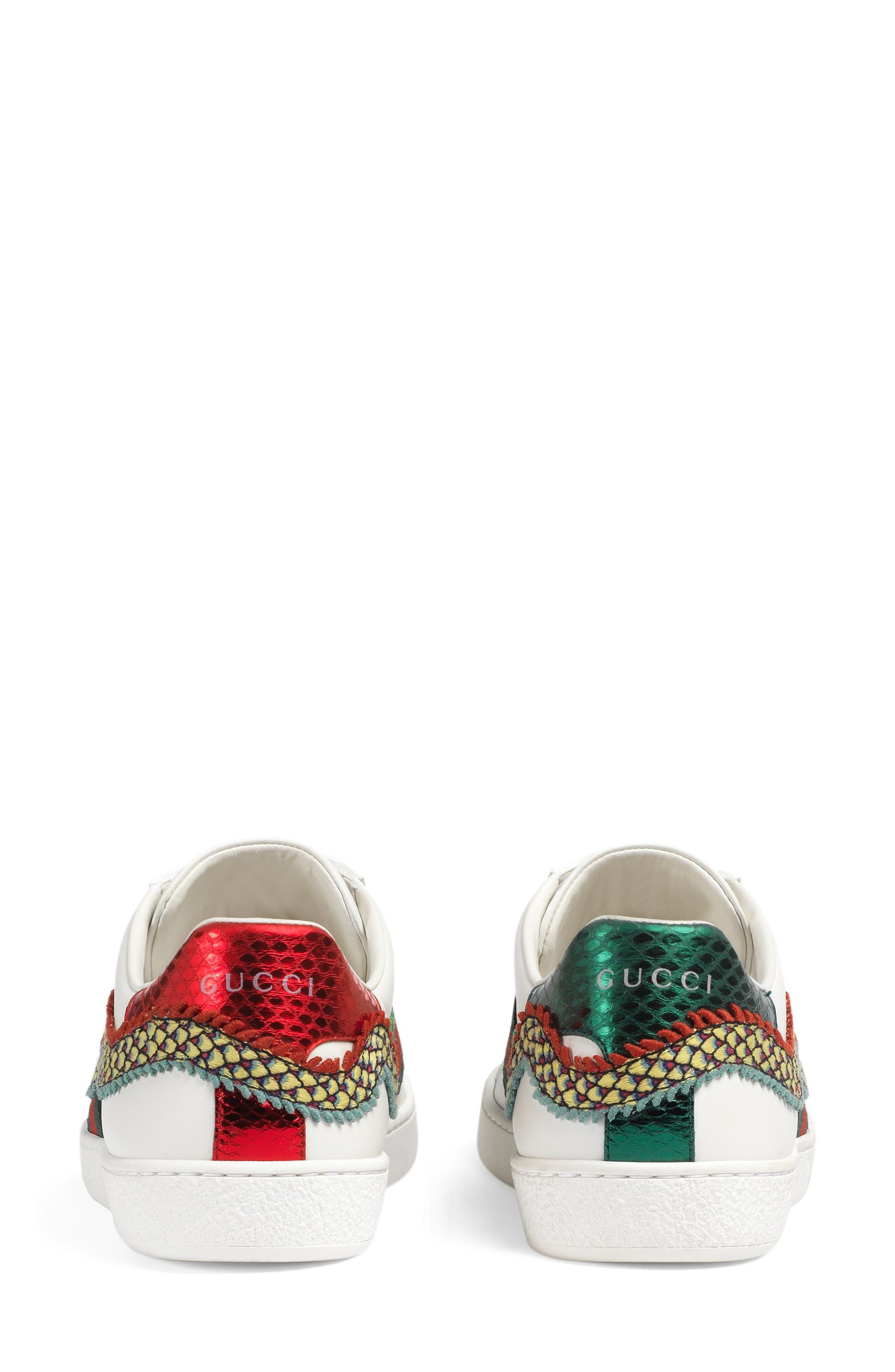 New Ace Dragon Sneaker,                             Alternate thumbnail 4, color,                             White Leather