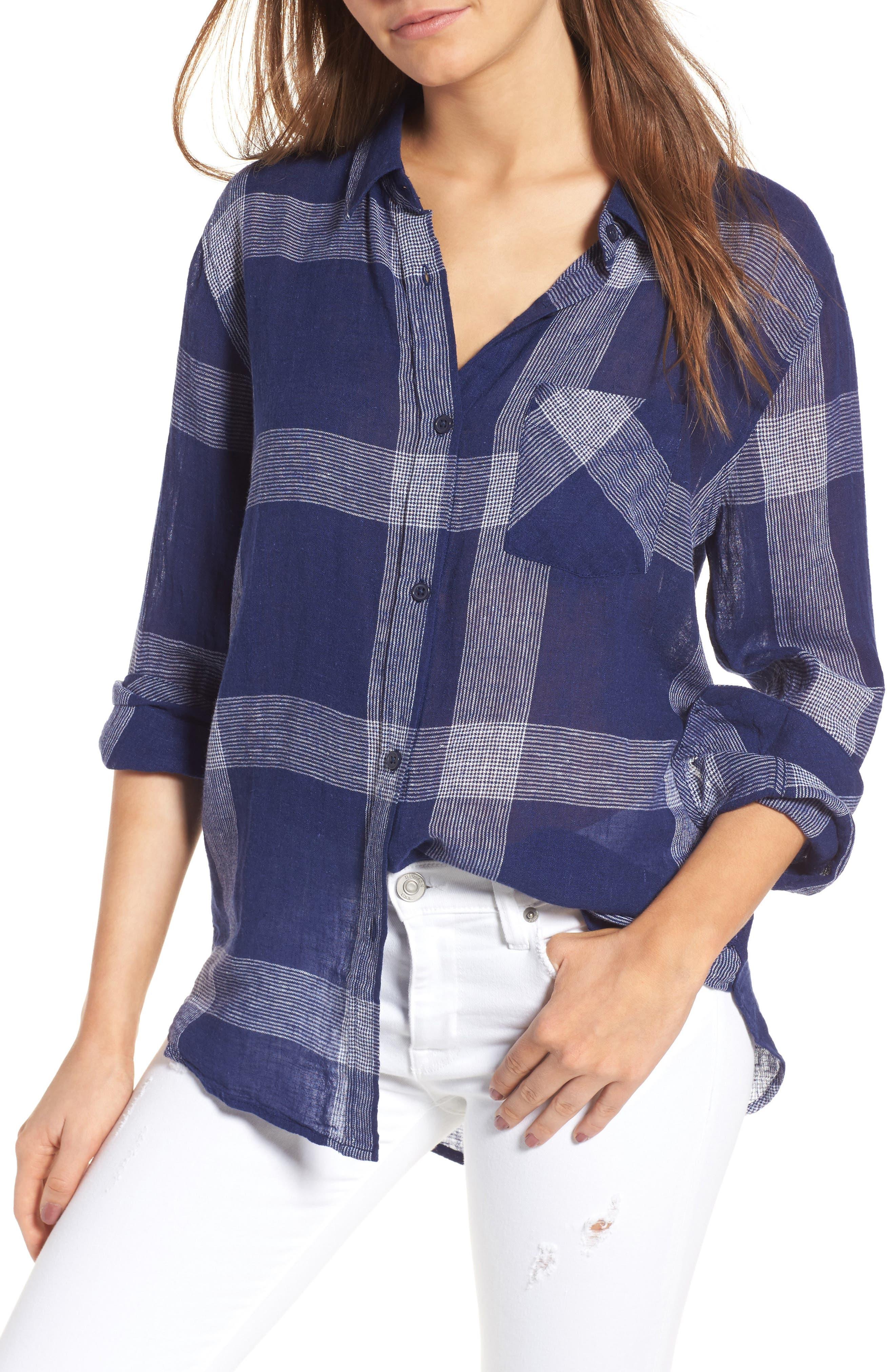 Charli Plaid Shirt,                         Main,                         color, Patriot/ White