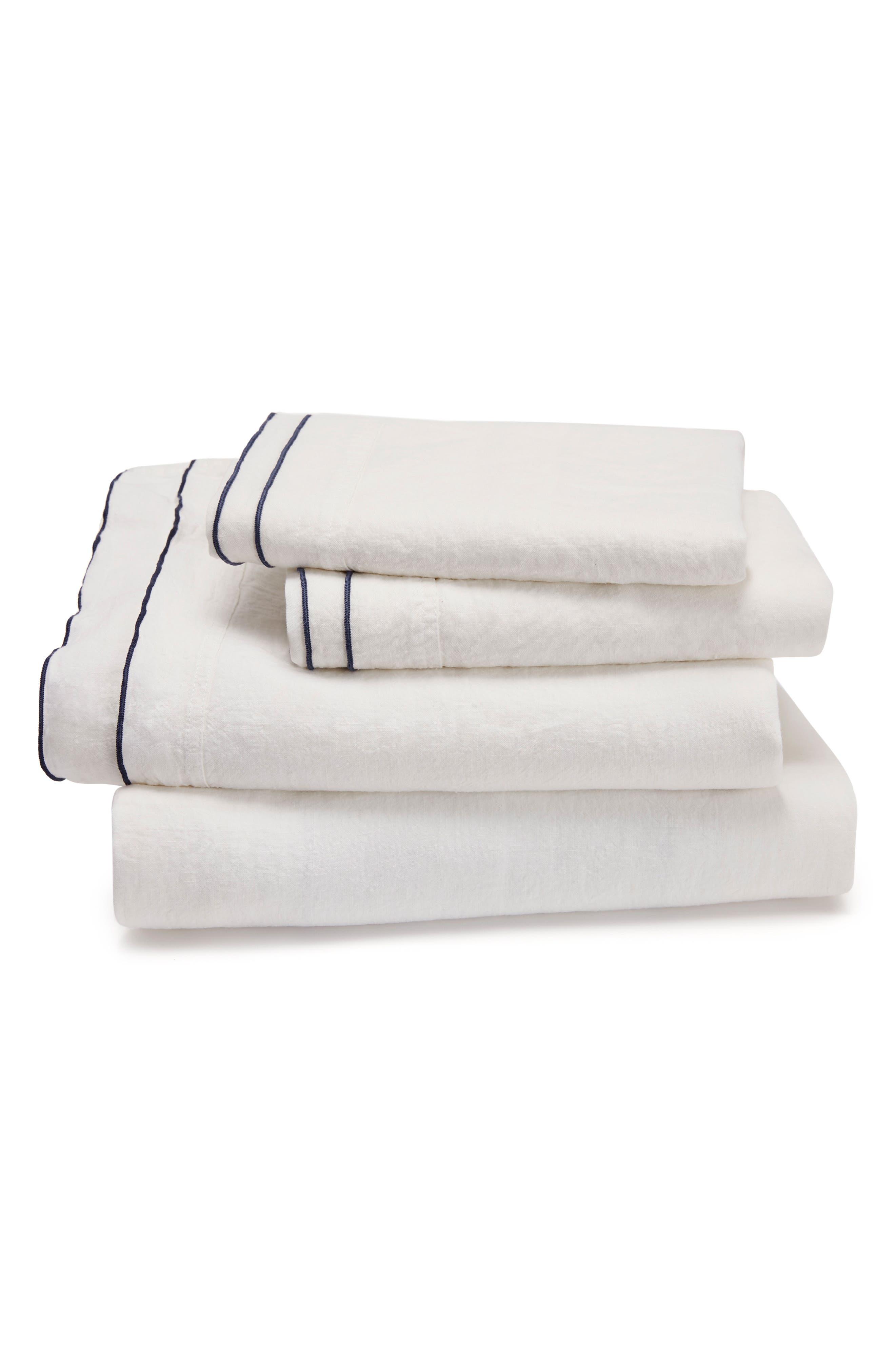 Biarritz Linen 300 Thread Count Flat Sheet,                             Main thumbnail 1, color,                             White/ Indigo