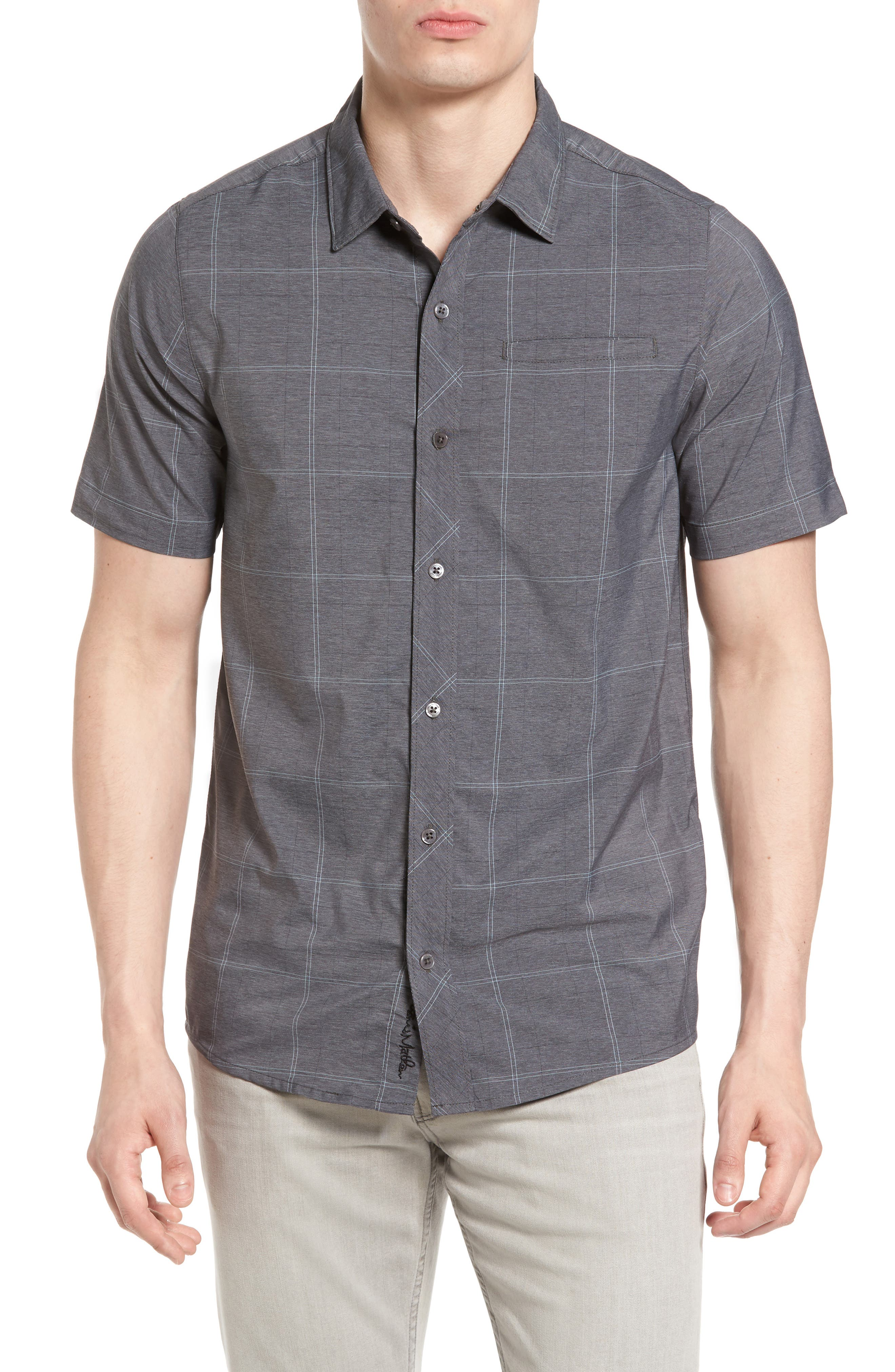 TRAVIS MATHEW Uenishi Trim Fit Plaid Sport Shirt
