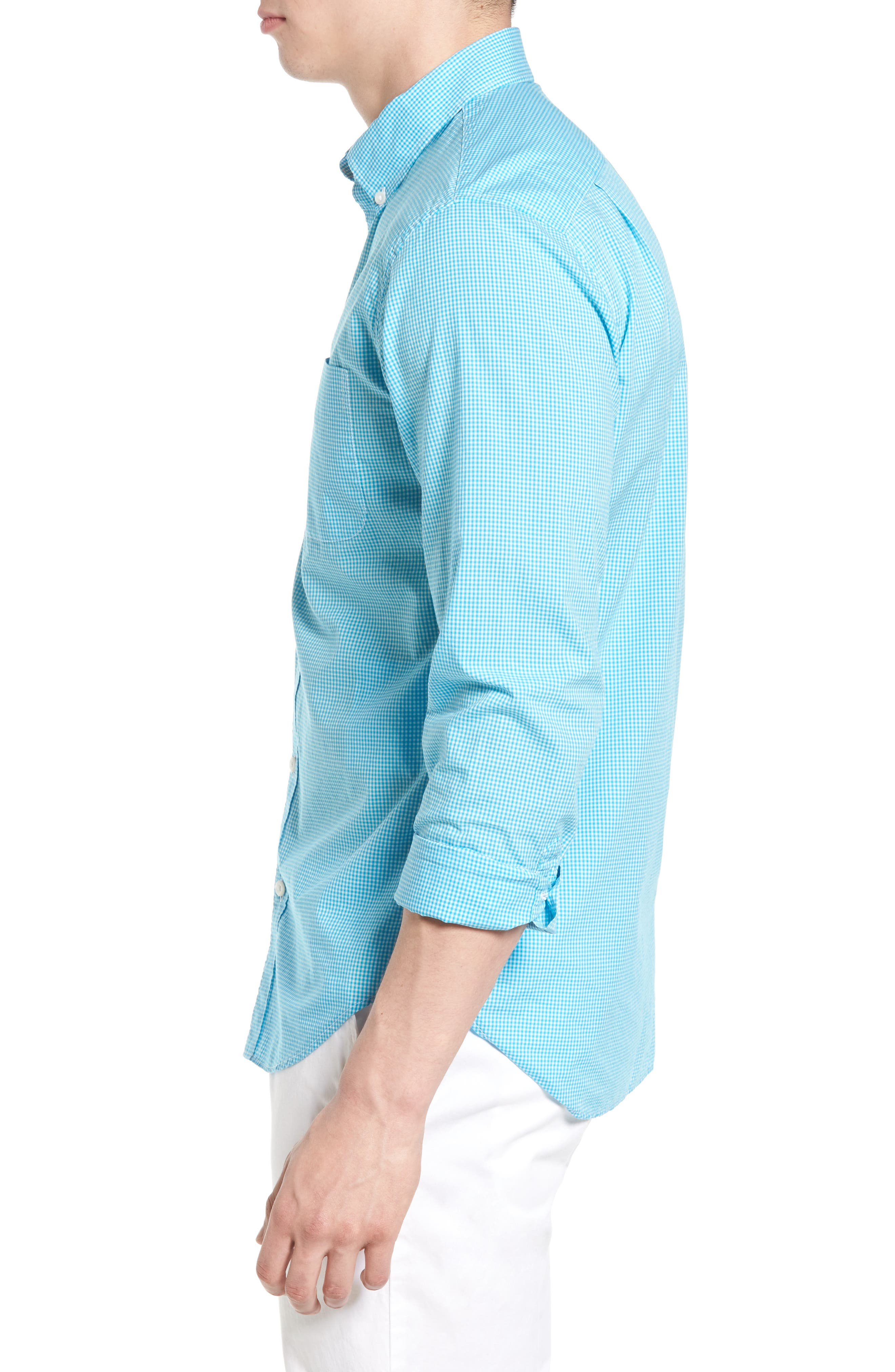 Summerweight Slim Fit Sport Shirt,                             Alternate thumbnail 3, color,                             Bonid Gingham Blue