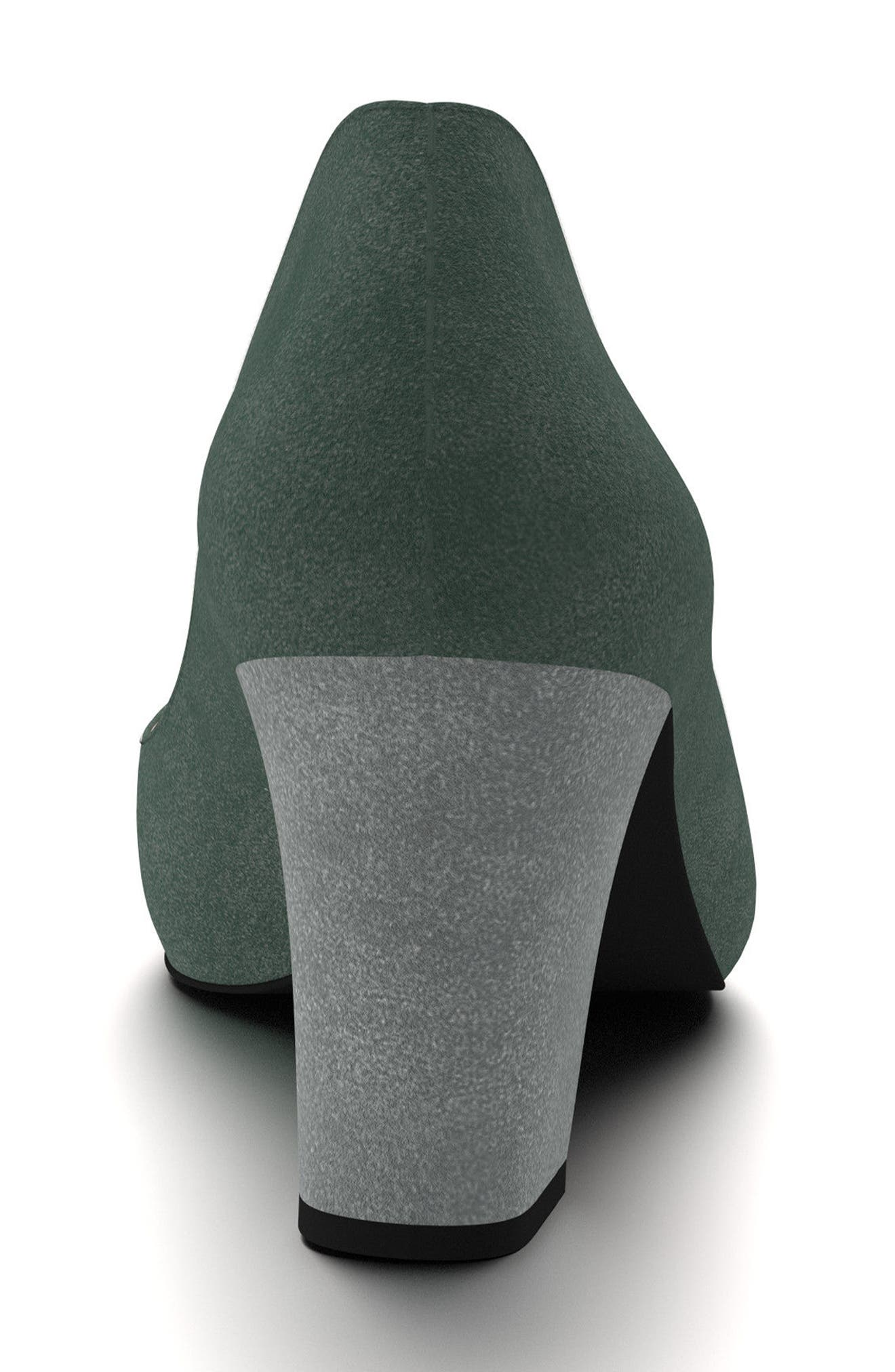 Block Heel Pump,                             Alternate thumbnail 3, color,                             Hunter Green Suede