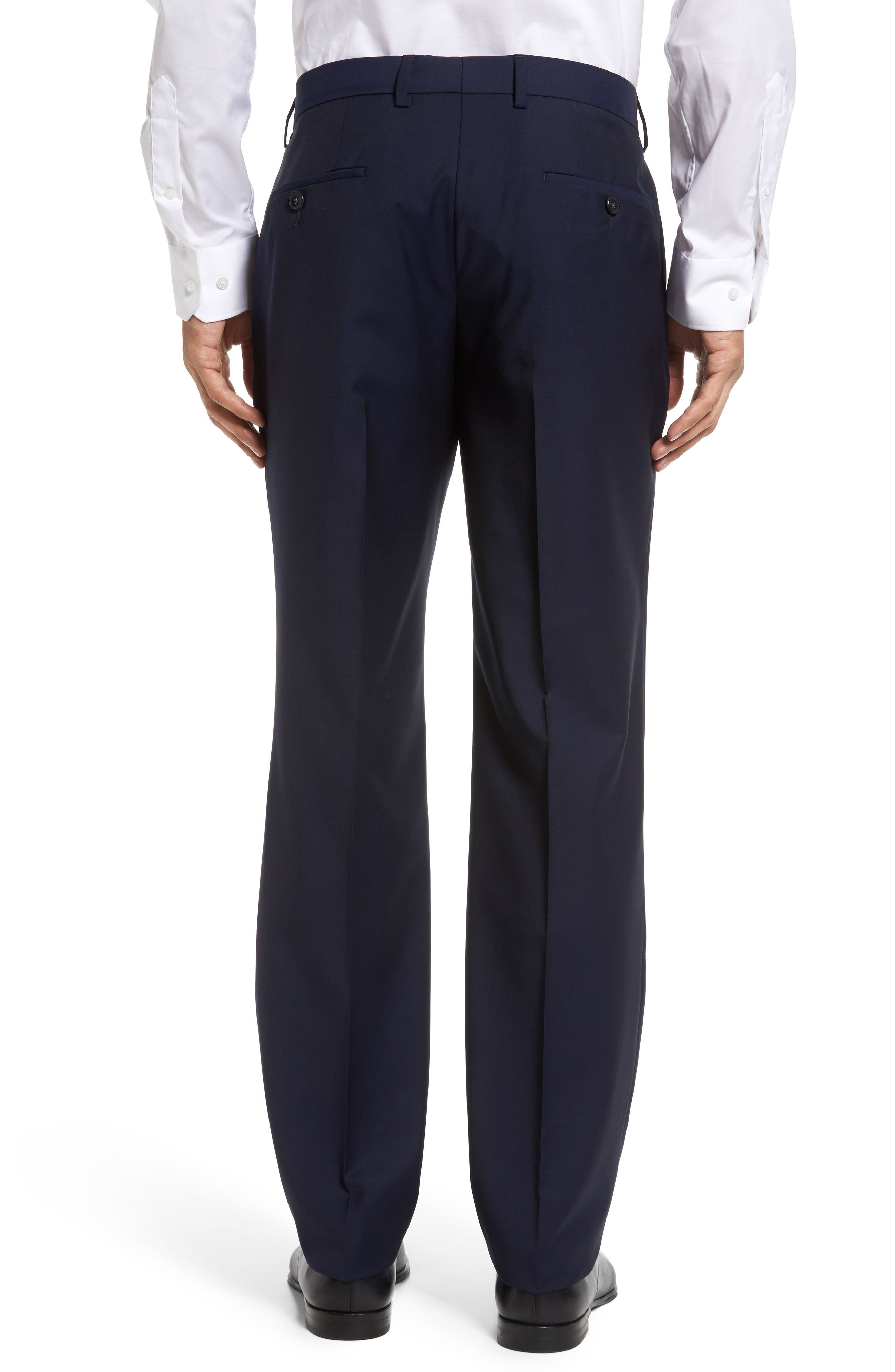 Genesis Flat Front Trim Fit Solid Wool Trousers,                             Alternate thumbnail 2, color,                             Navy