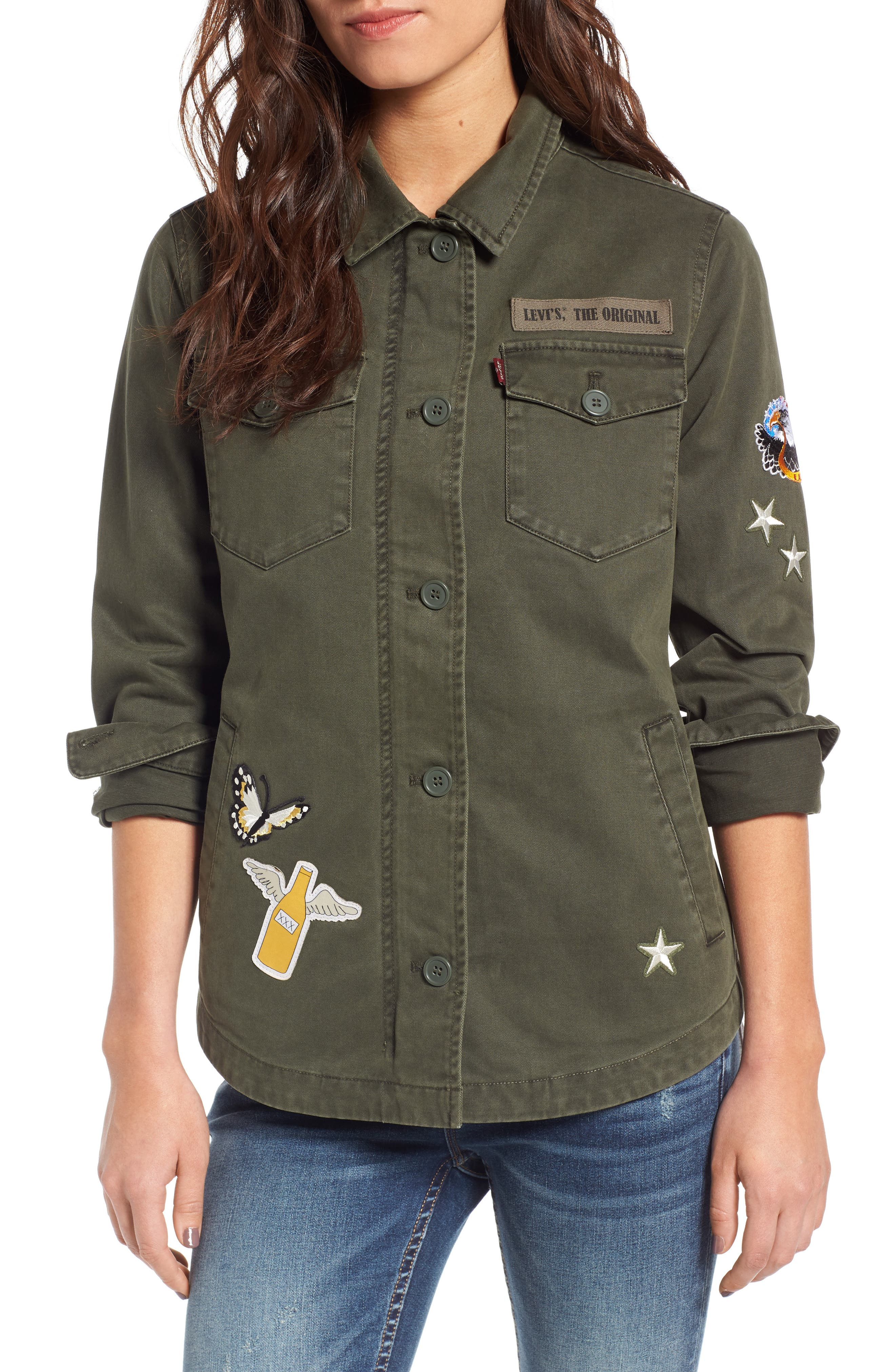Cargo Jacket with Patches,                         Main,                         color, Olive