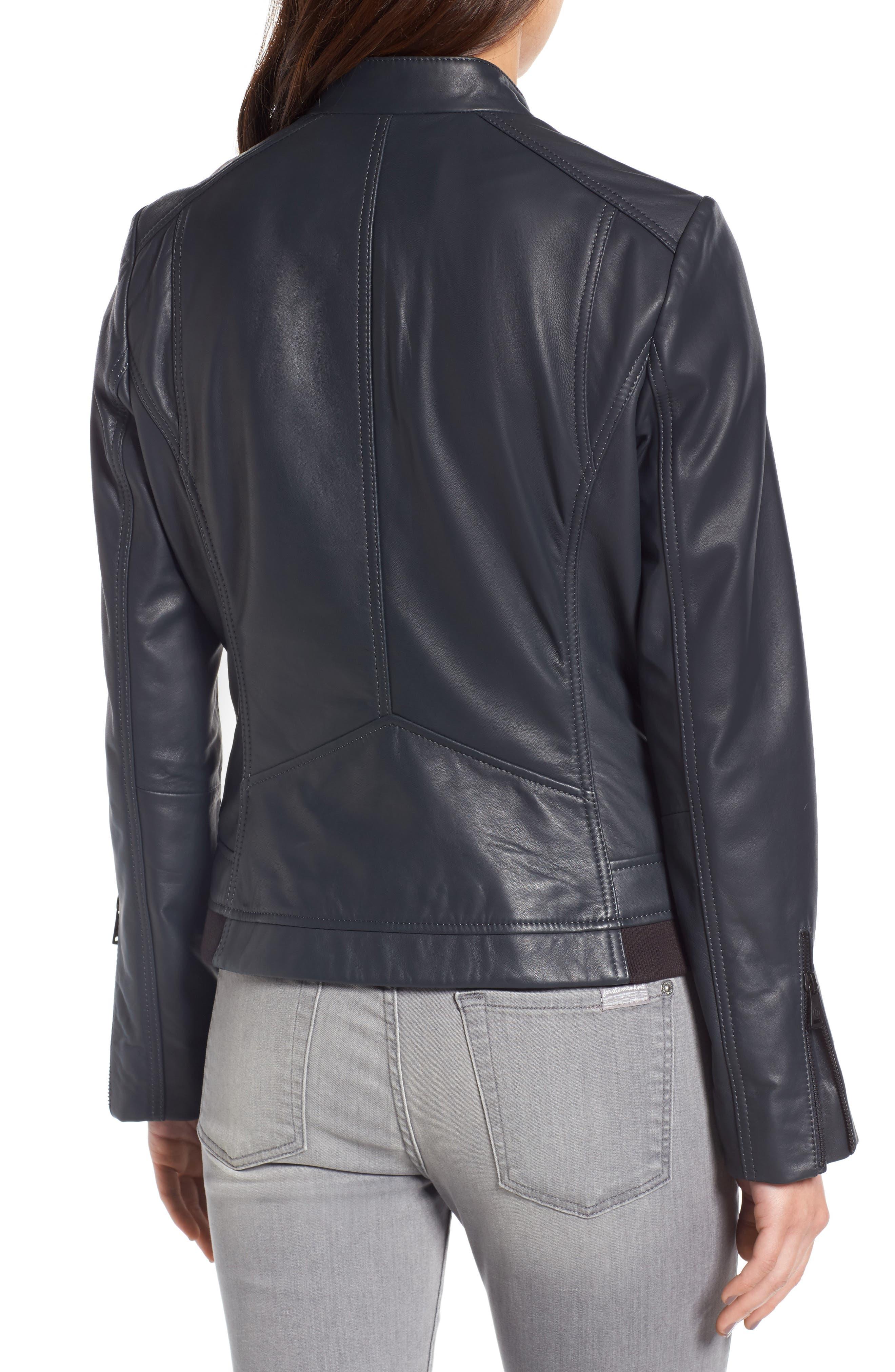 Jetta Knit Detail Leather Scuba Jacket,                             Alternate thumbnail 2, color,                             Peacock