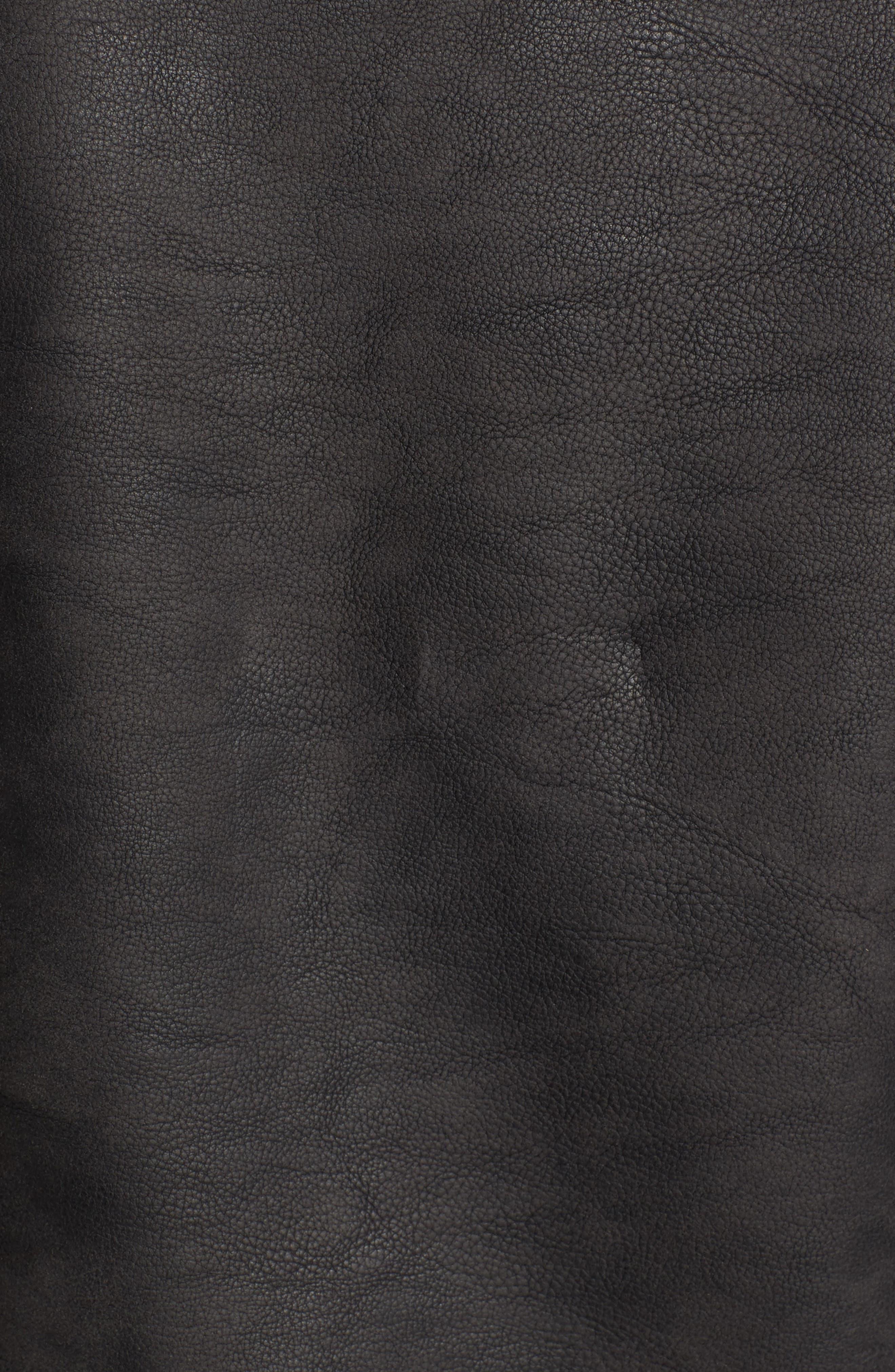 Faux Leather Trucker Jacket,                             Alternate thumbnail 6, color,                             Black