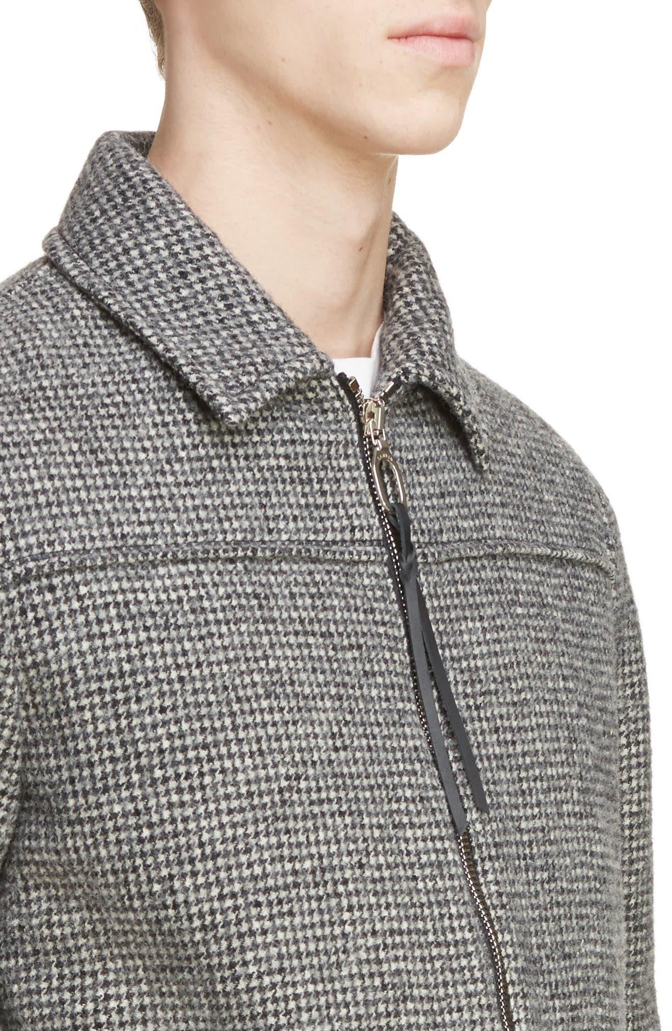 Houndstooth Wool Zip Front Jacket,                             Alternate thumbnail 4, color,                             Dark Grey