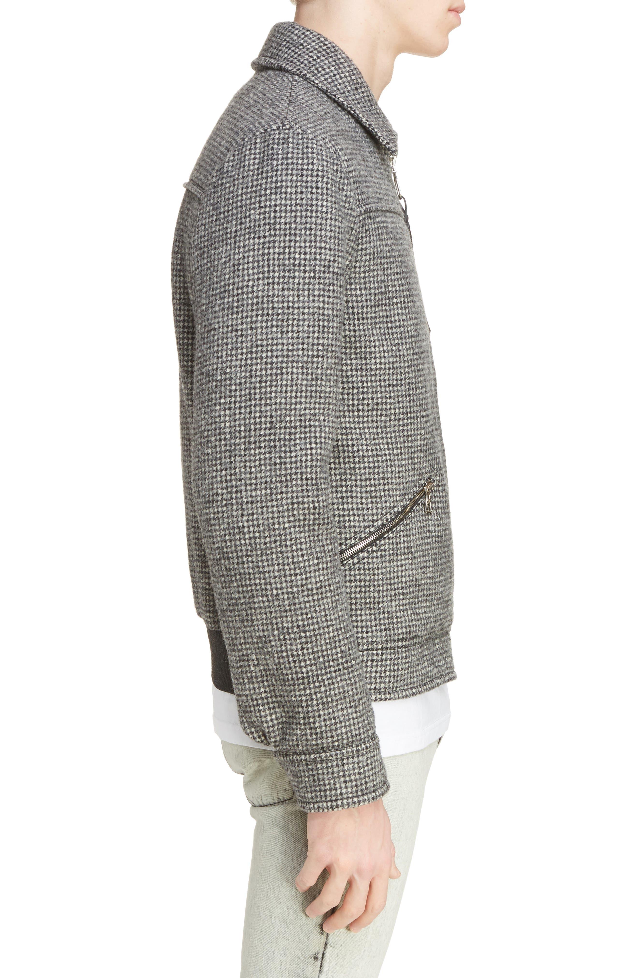 Houndstooth Wool Zip Front Jacket,                             Alternate thumbnail 3, color,                             Dark Grey