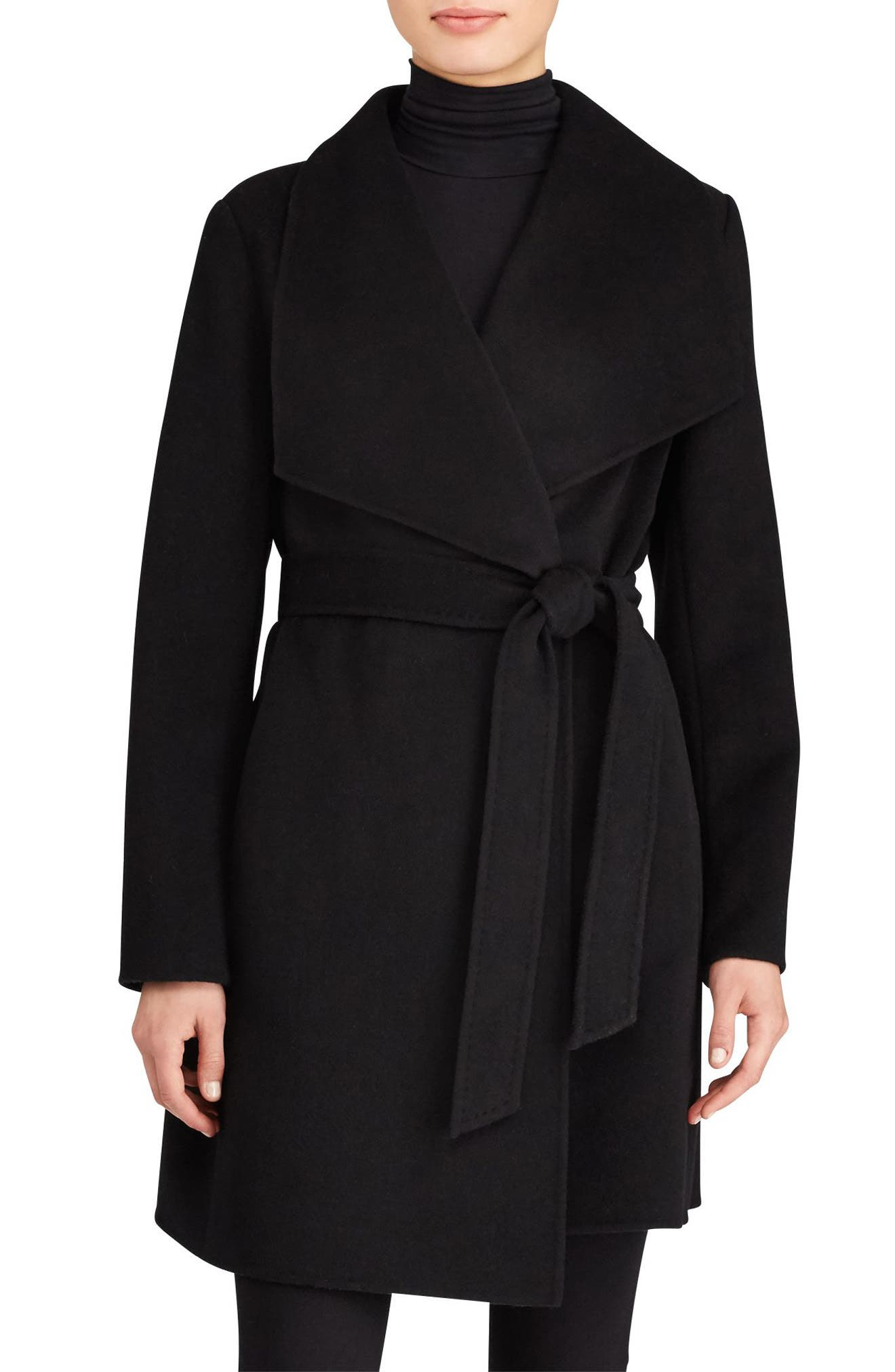 Lauren Ralph Lauren Double Face Wool Blend Wrap Coat