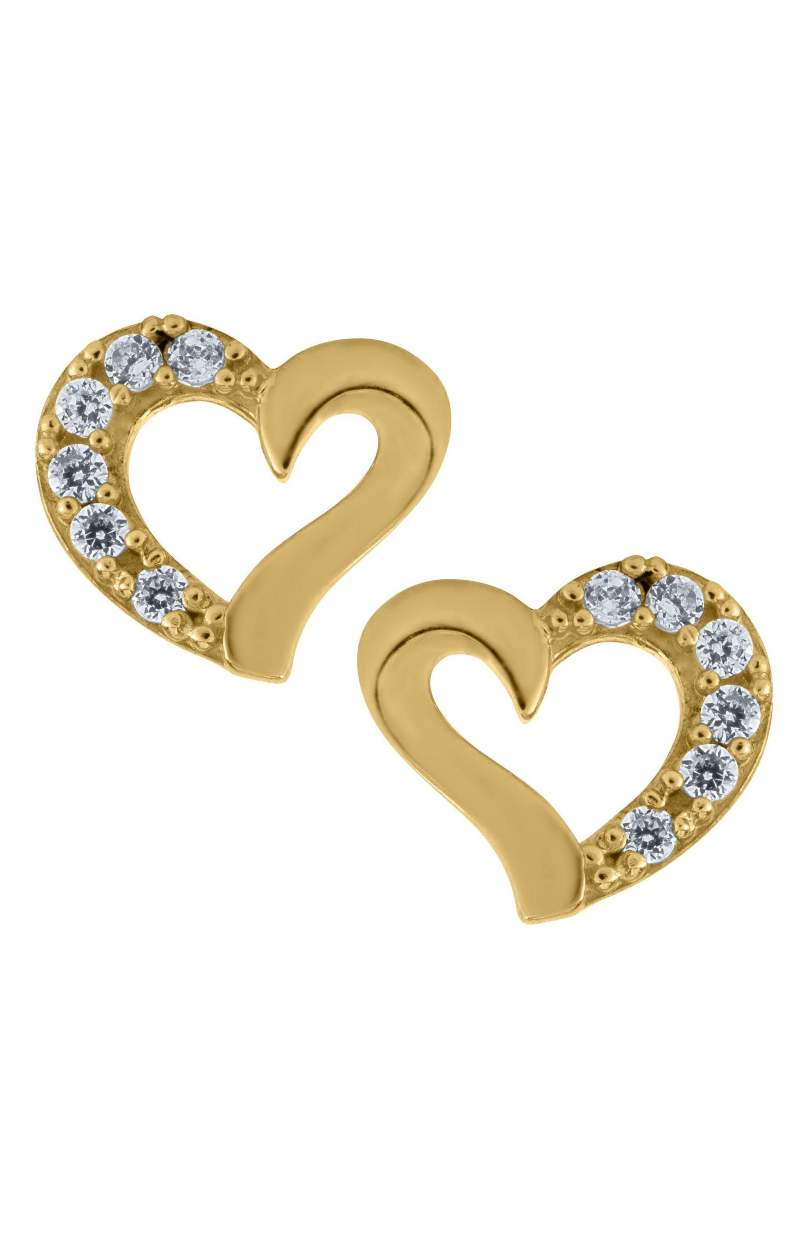 14k Gold Heart Earrings,                         Main,                         color, Gold
