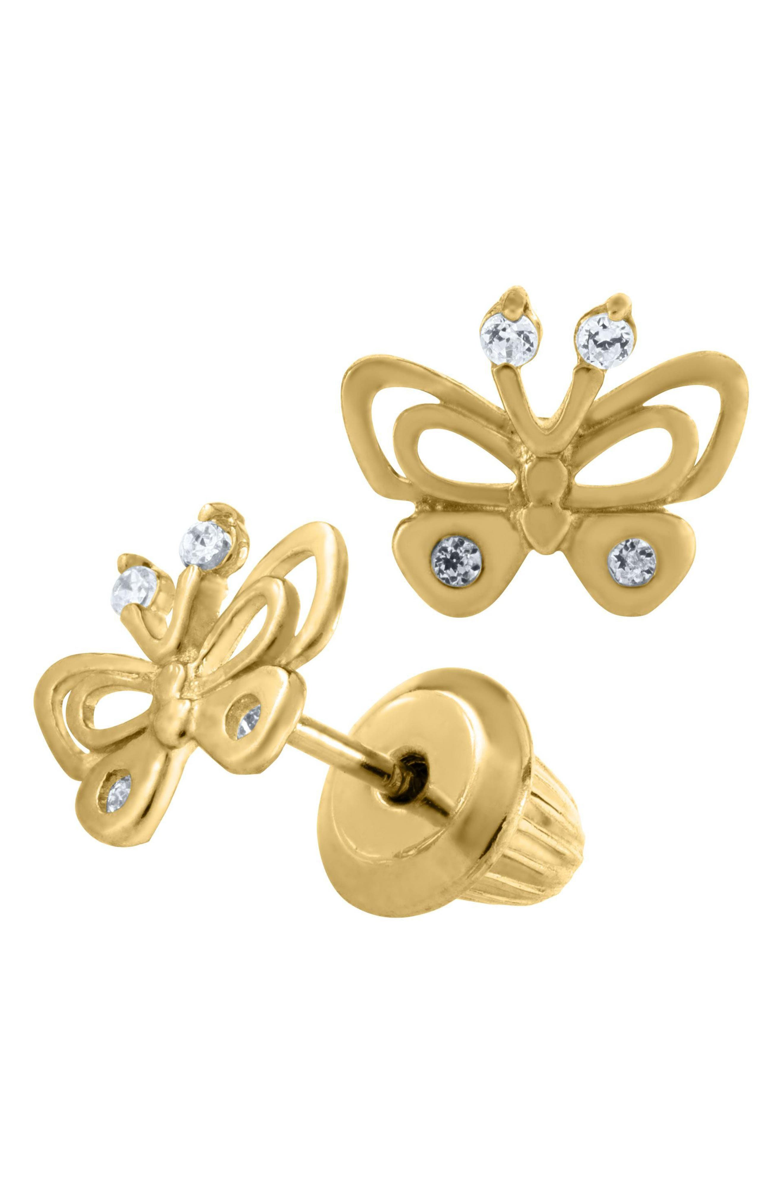 Alternate Image 1 Selected - Mignonette 14k Gold Butterfly Earrings (Girls)