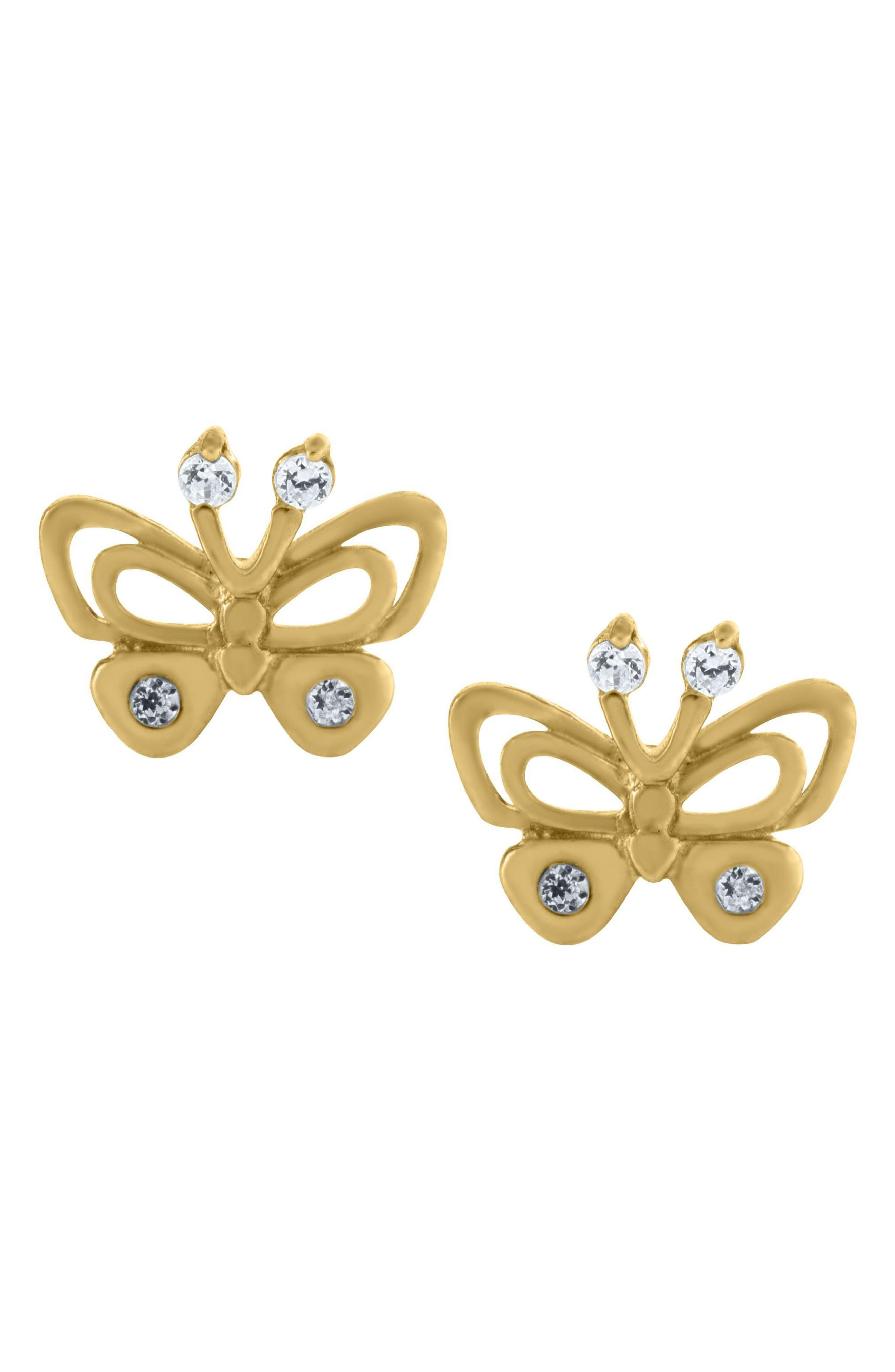 Alternate Image 2  - Mignonette 14k Gold Butterfly Earrings (Girls)