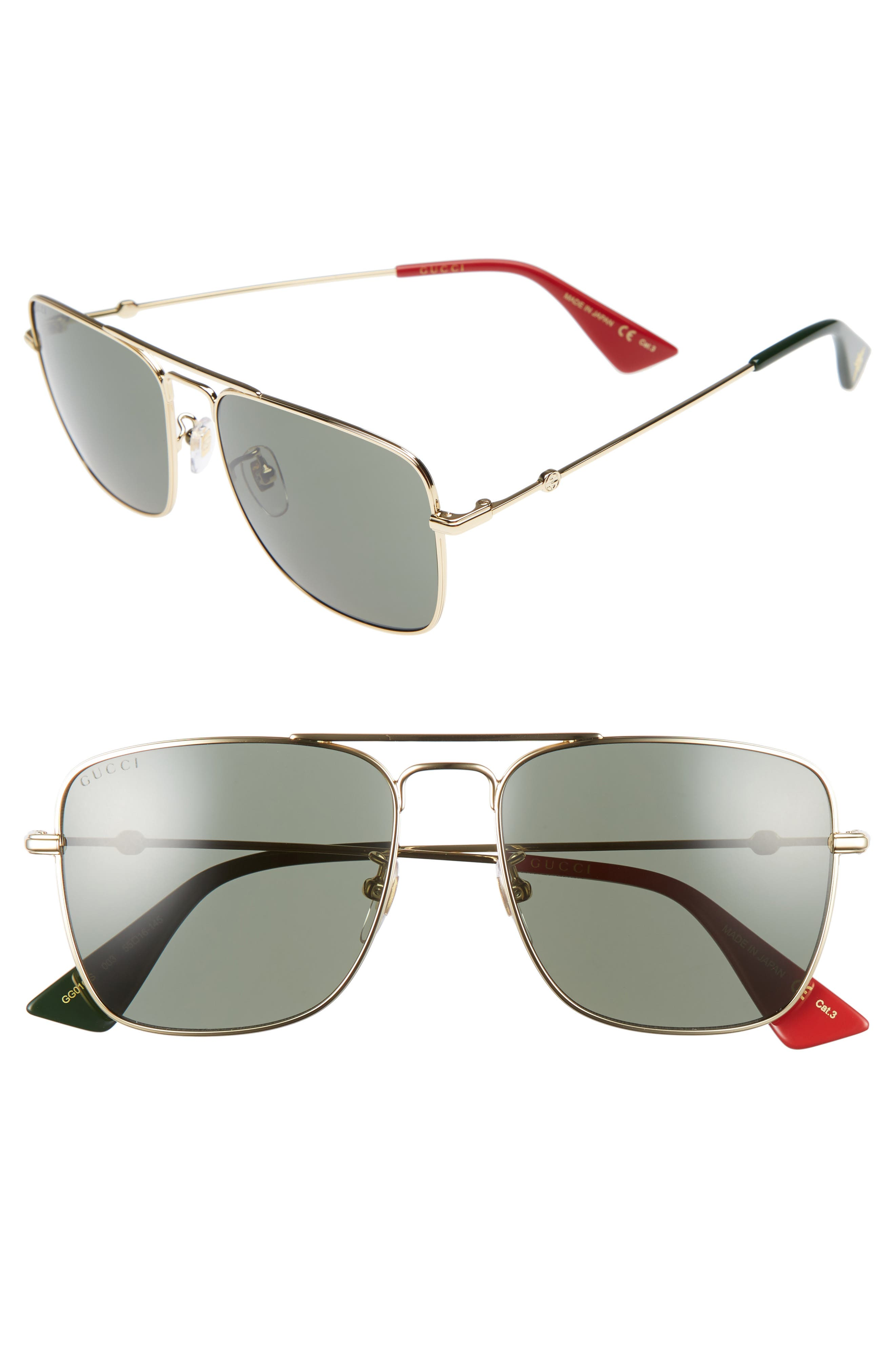 Caravan 55mm Square Aviator Sunglasses,                             Main thumbnail 1, color,                             Gold/ Green