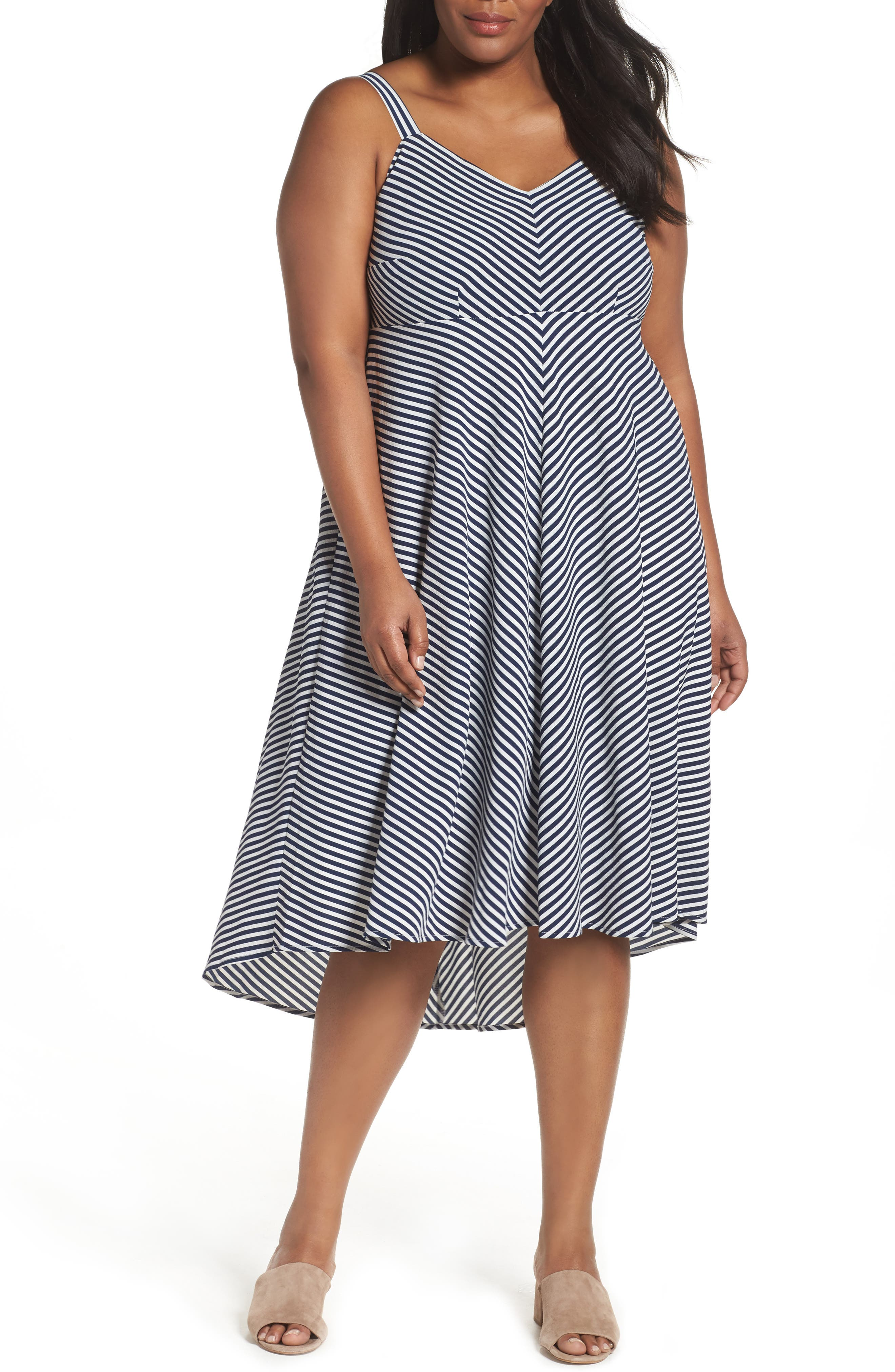 Stripe Midi Sundress,                             Main thumbnail 1, color,                             Navy/ Cream