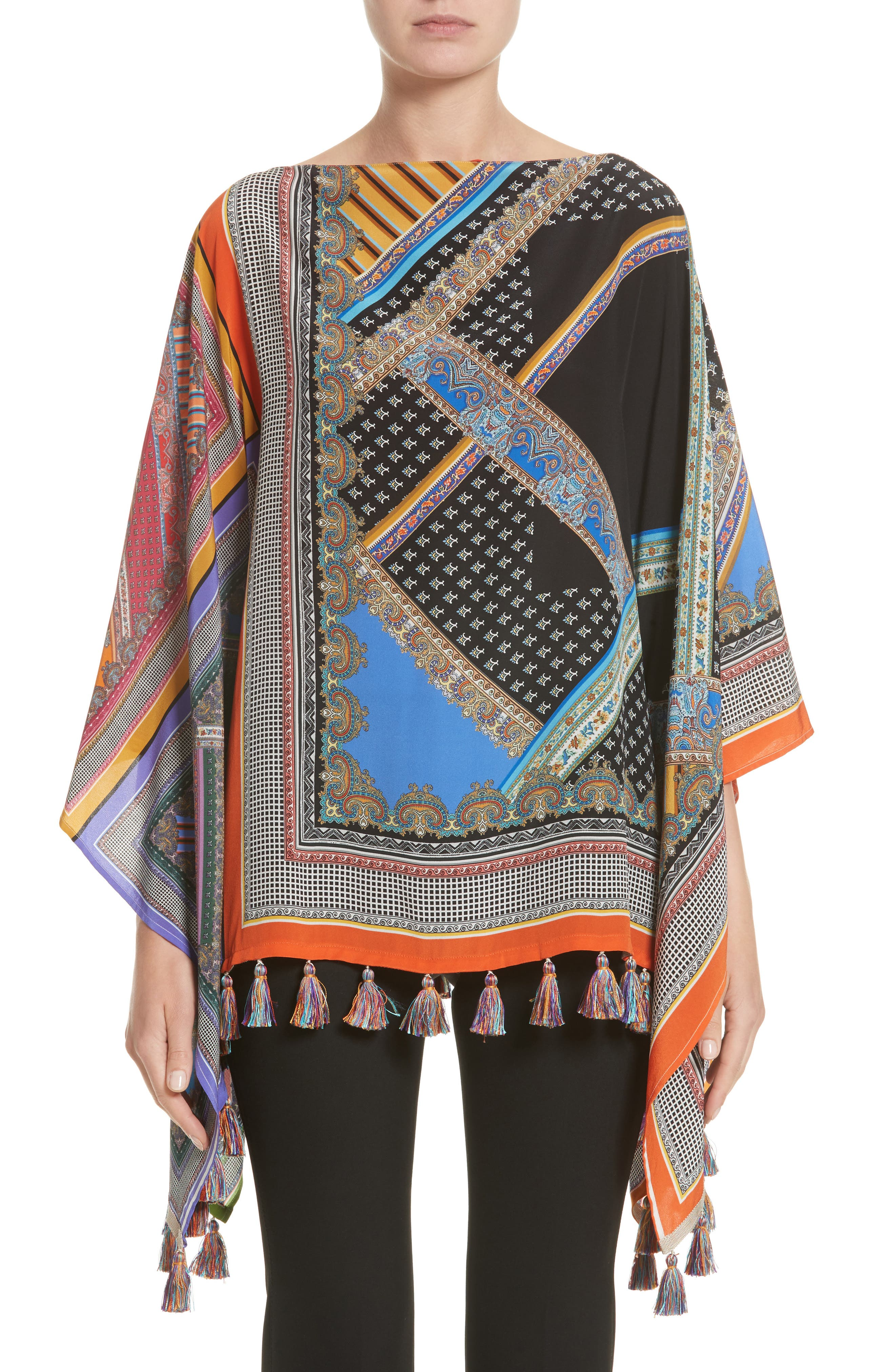 Patchwork Print Silk Poncho,                         Main,                         color, Blue Multi