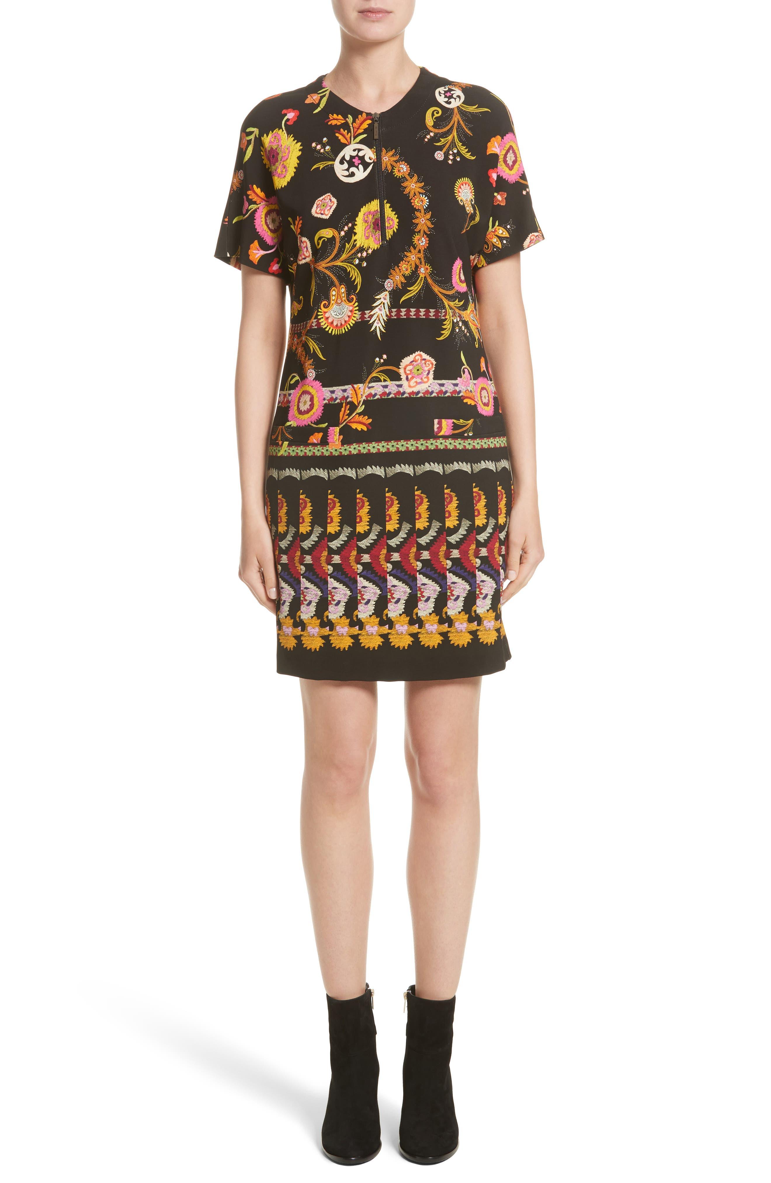Floral & Paisley Jersey Dress,                         Main,                         color, Black