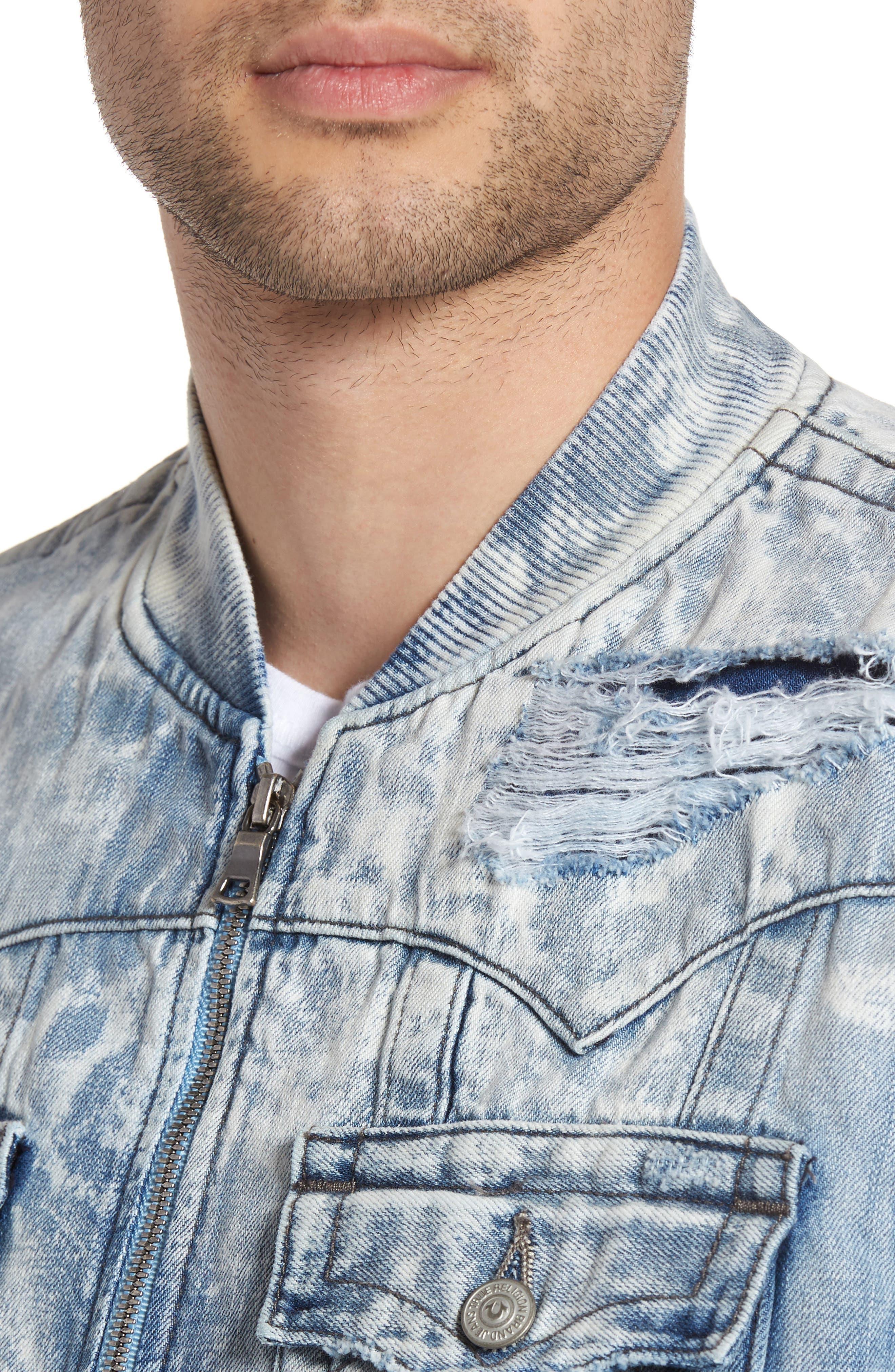 Alternate Image 4  - True Religion Brand Jeans Jimmy Bleached Denim Bomber Jacket