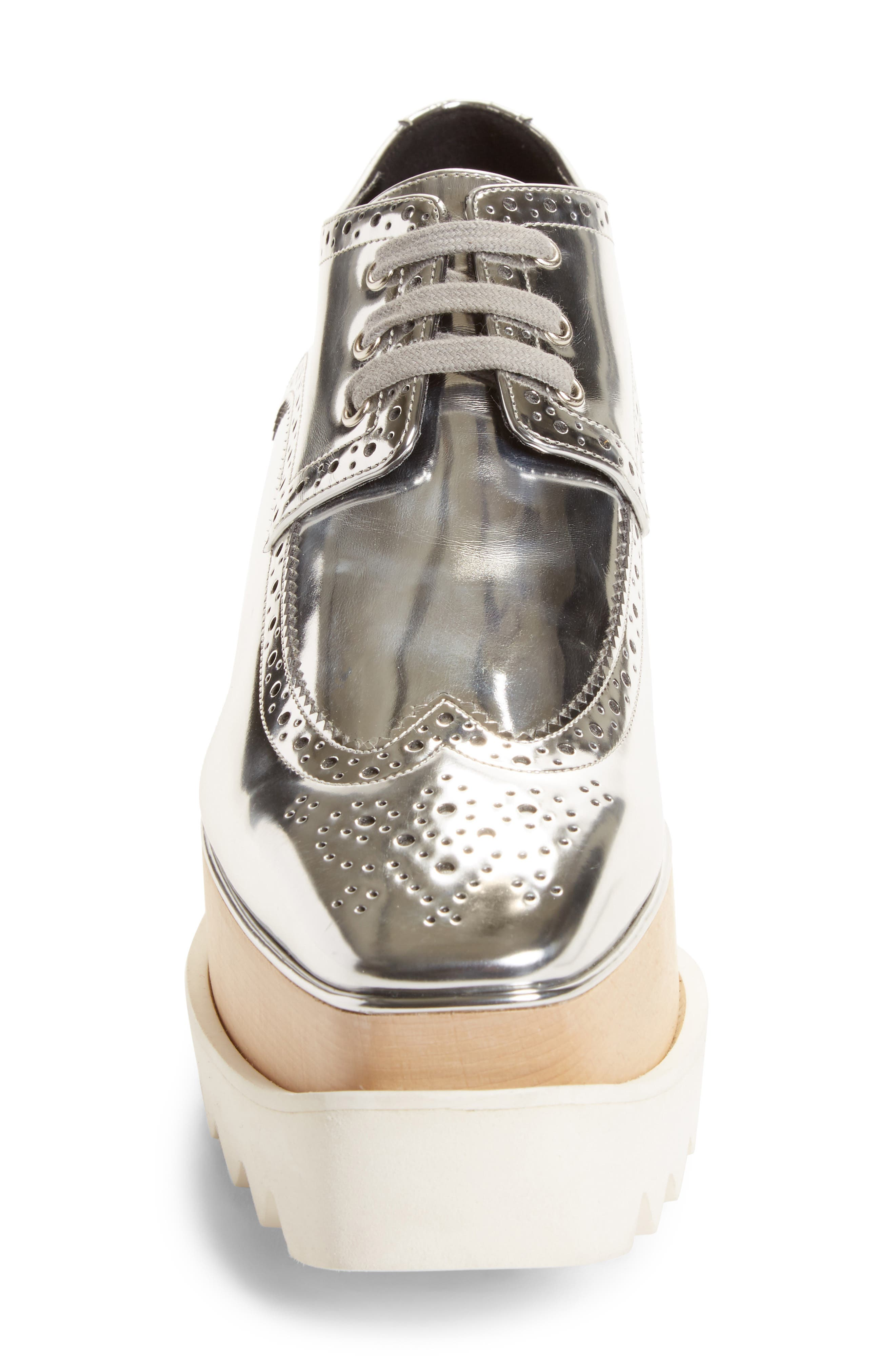 Elyse Brogue Platform Loafer,                             Alternate thumbnail 4, color,                             Metallic Silver