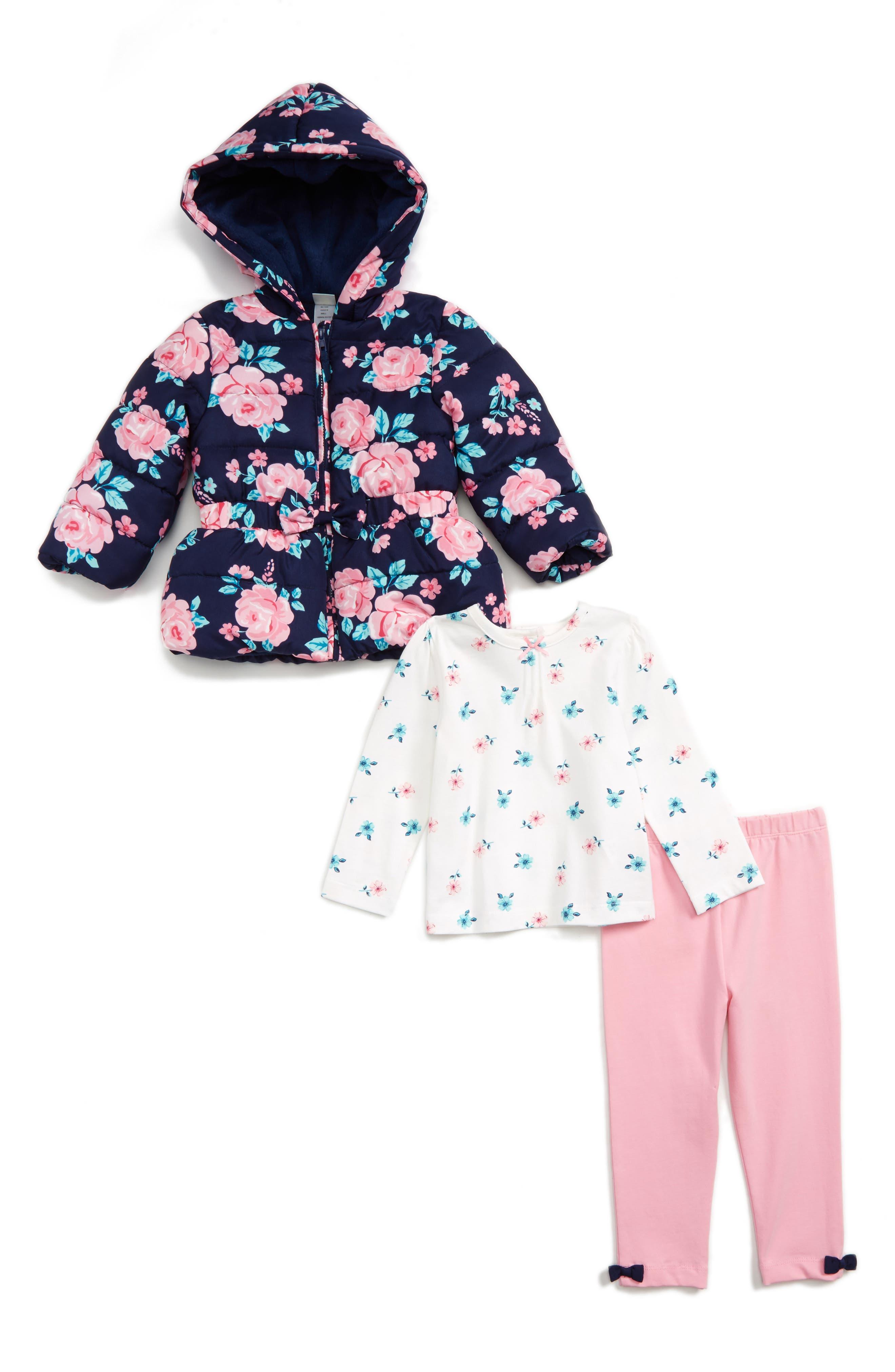 LITTLE ME Hooded Jacket, Tee & Leggings Set