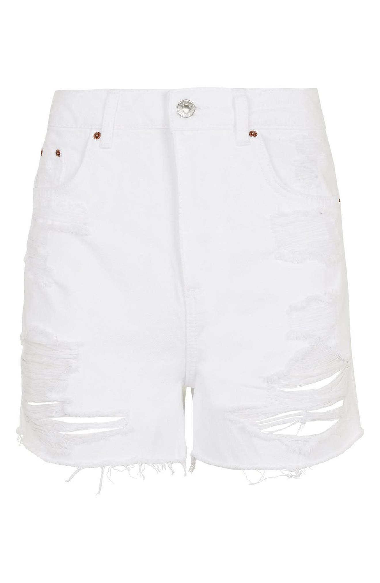 Alternate Image 5  - Topshop Longline Rip Mom Shorts (Regular & Petite)