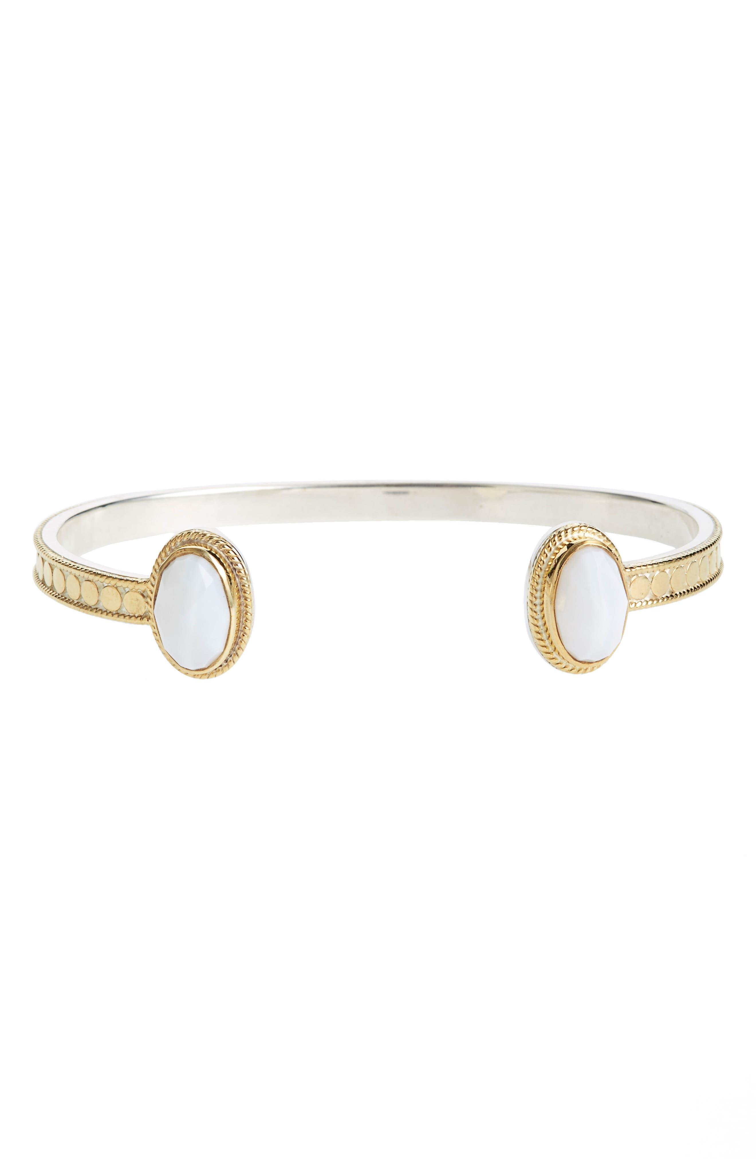 White Opal Cuff,                         Main,                         color, Gold/ Silver
