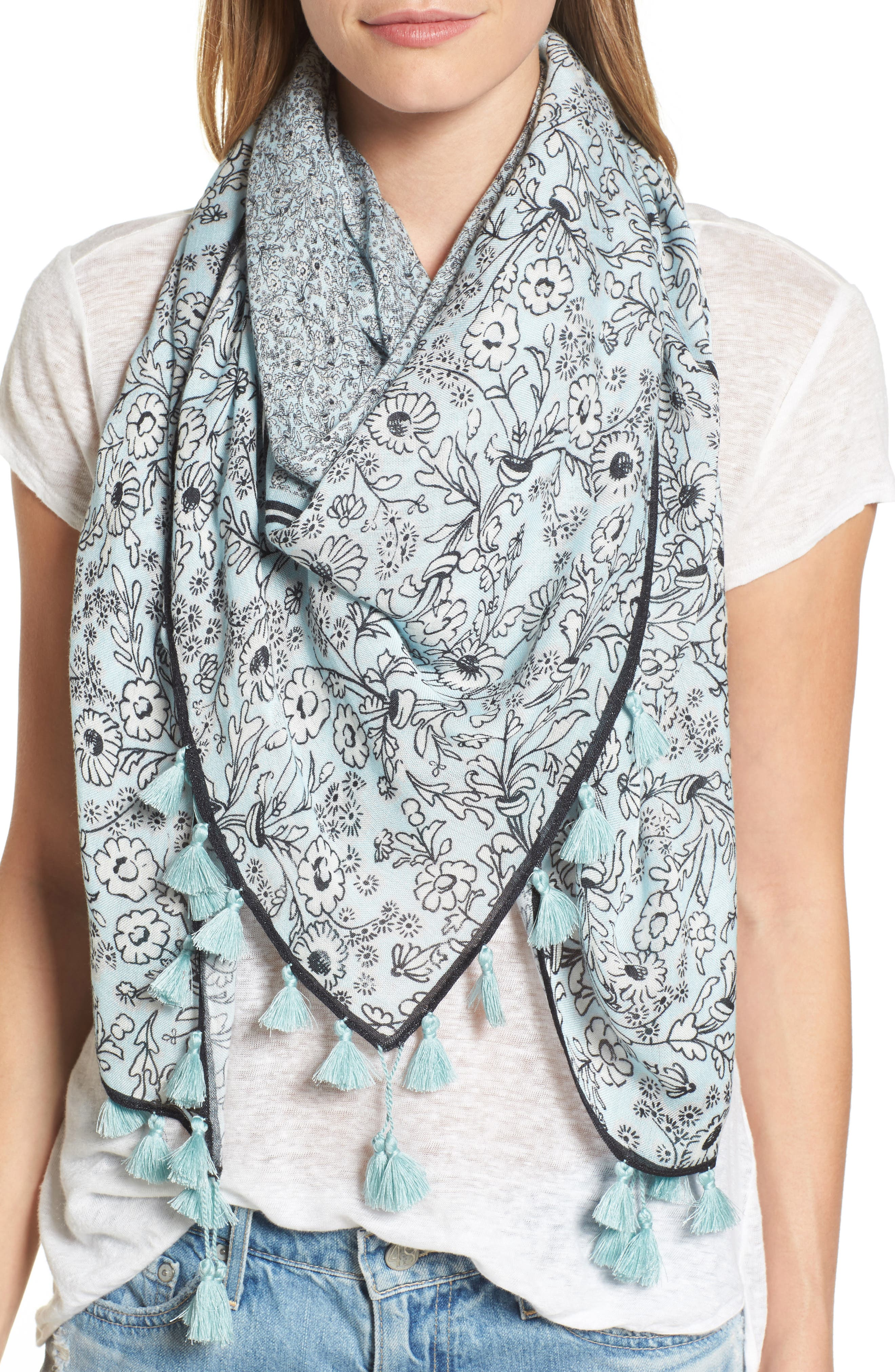 Alternate Image 1 Selected - Rebecca Minkoff Wildflower Tassel Square Scarf