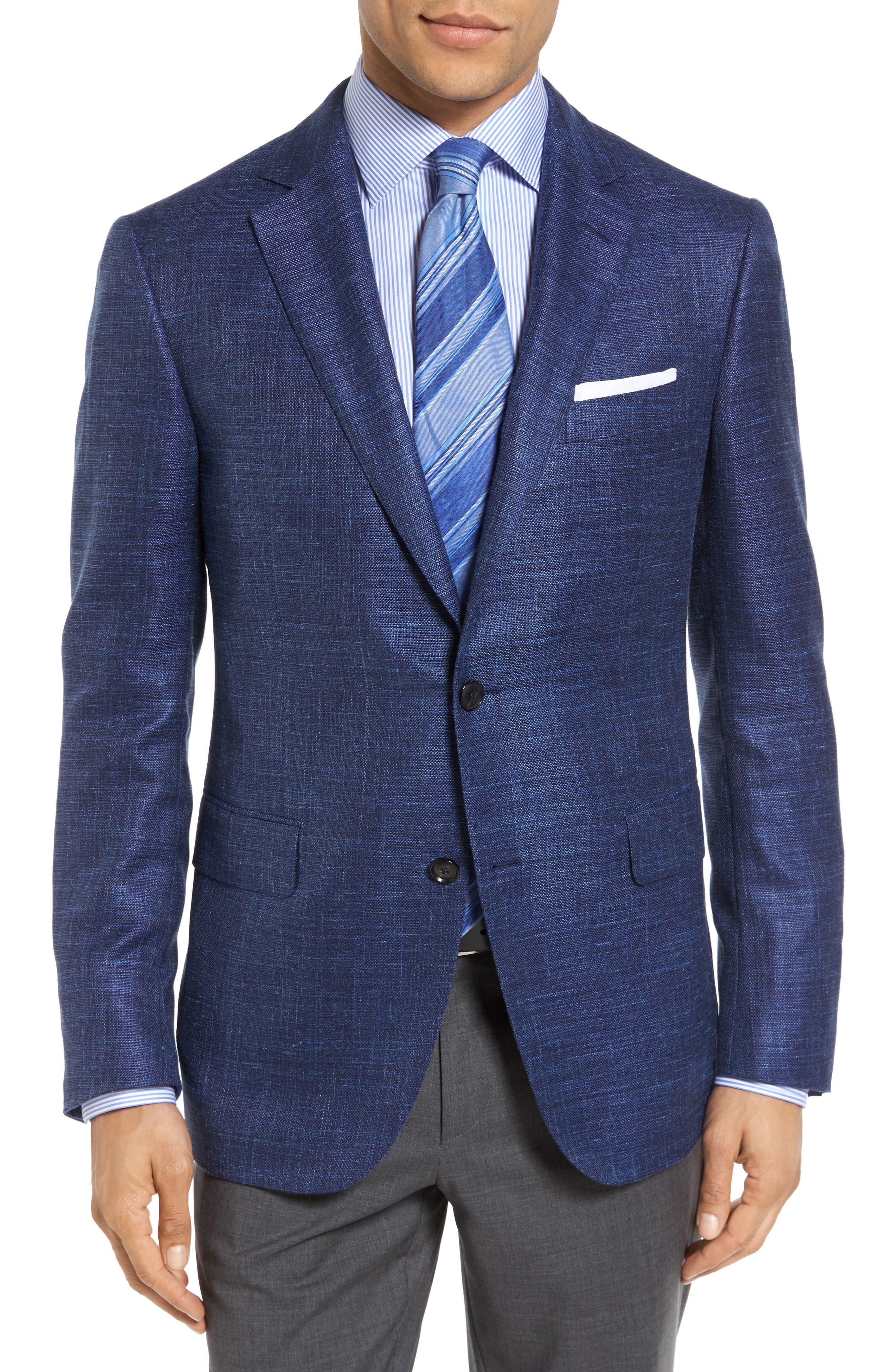Plaid Wool Blend Blazer,                         Main,                         color, Blue
