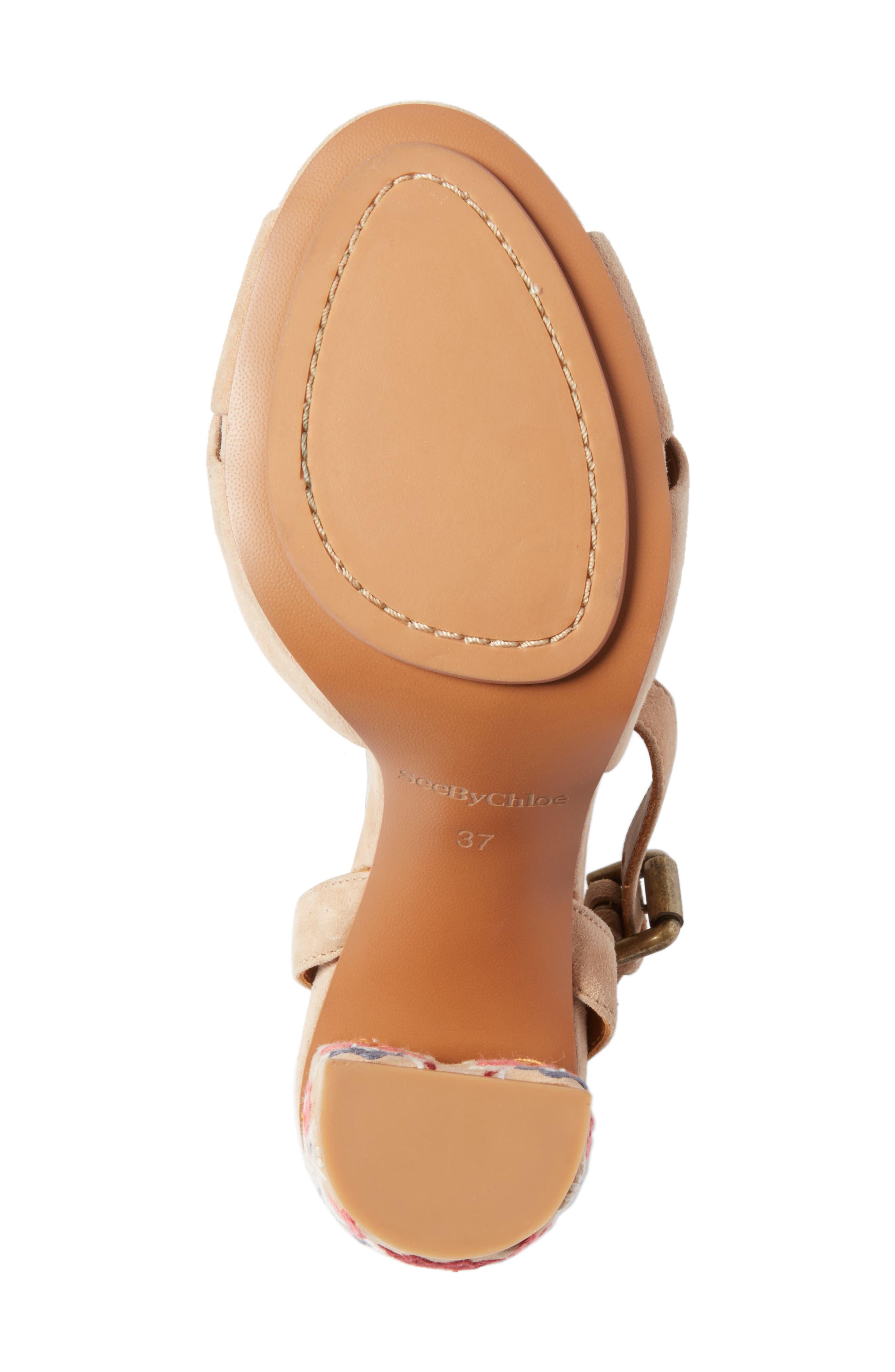 Gayla Embroidered Block Heel Sandal,                             Alternate thumbnail 6, color,                             Nude