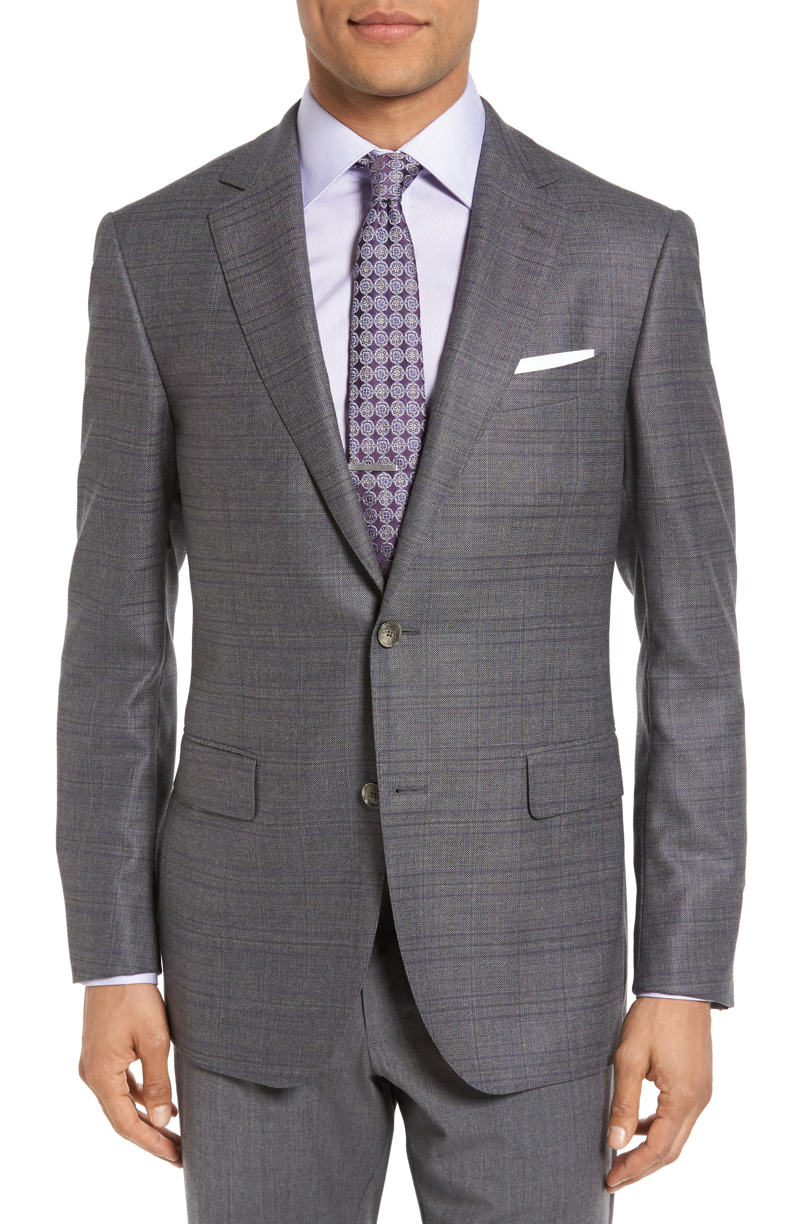 Classic Fit Windowpane Wool Sport Coat,                             Main thumbnail 1, color,                             Grey