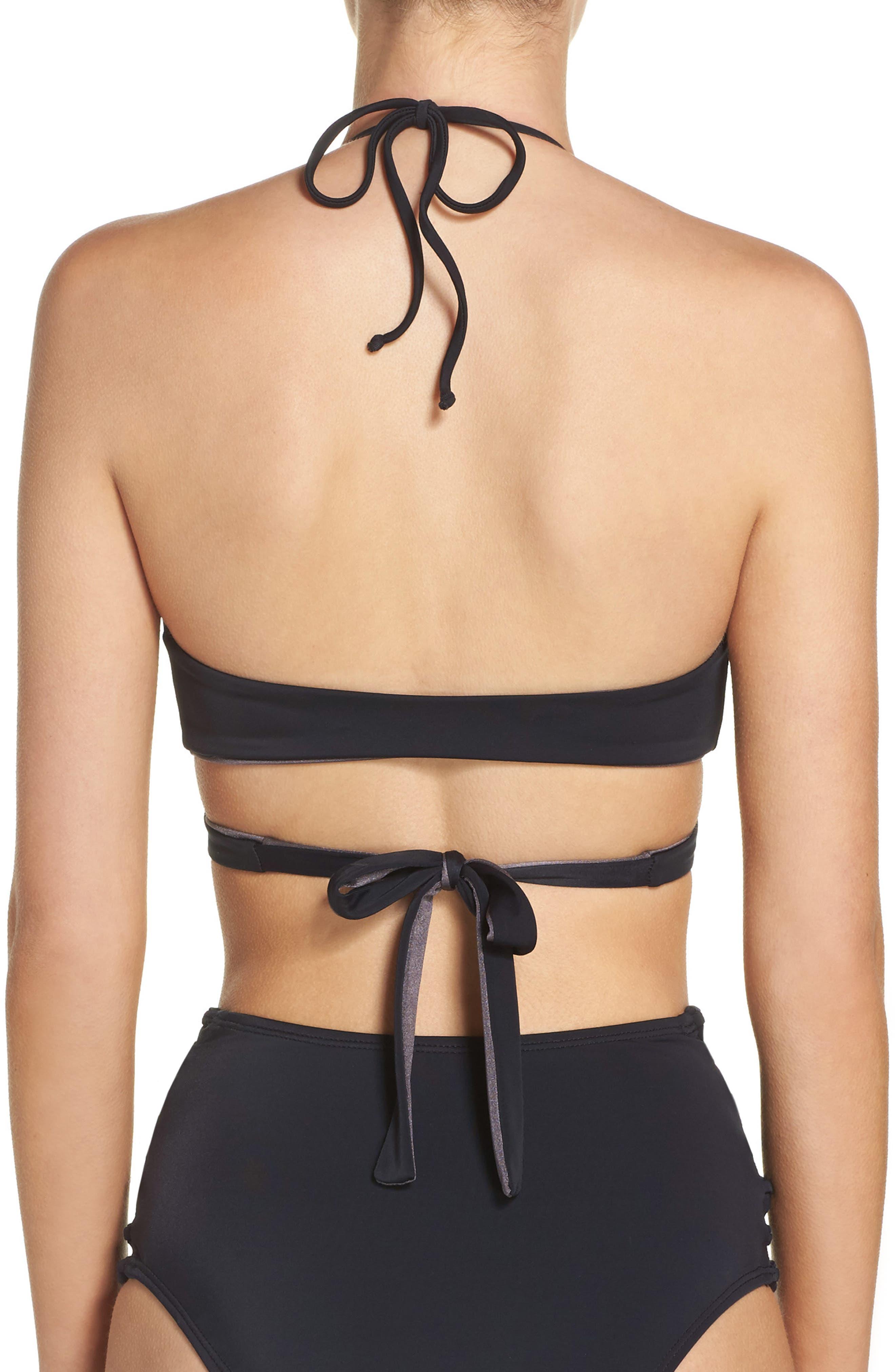 Reversible Wrap Bikini Top,                             Alternate thumbnail 2, color,                             Black
