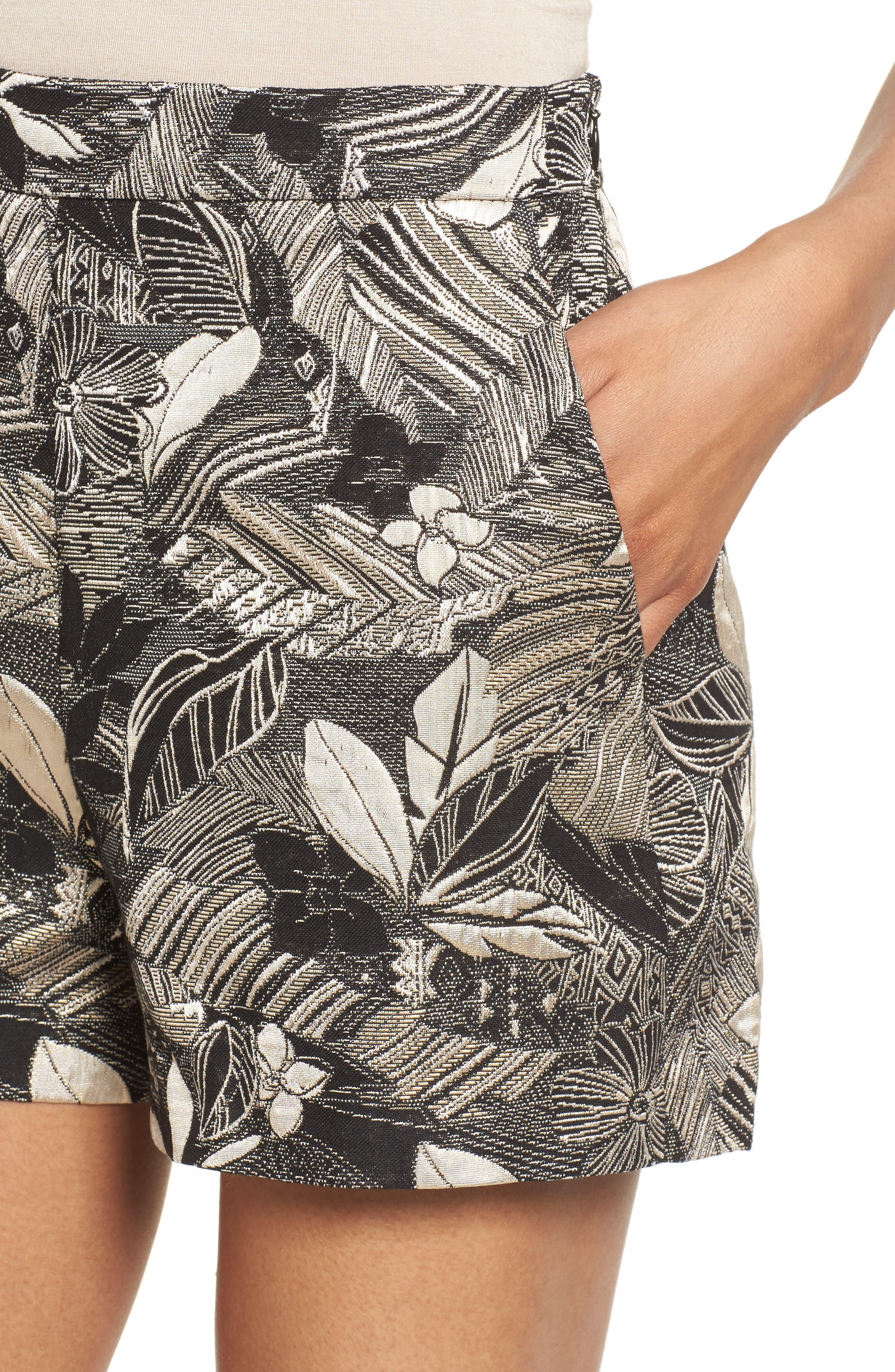 High Waist Jacquard Shorts,                             Alternate thumbnail 4, color,                             Black Mixed Floral